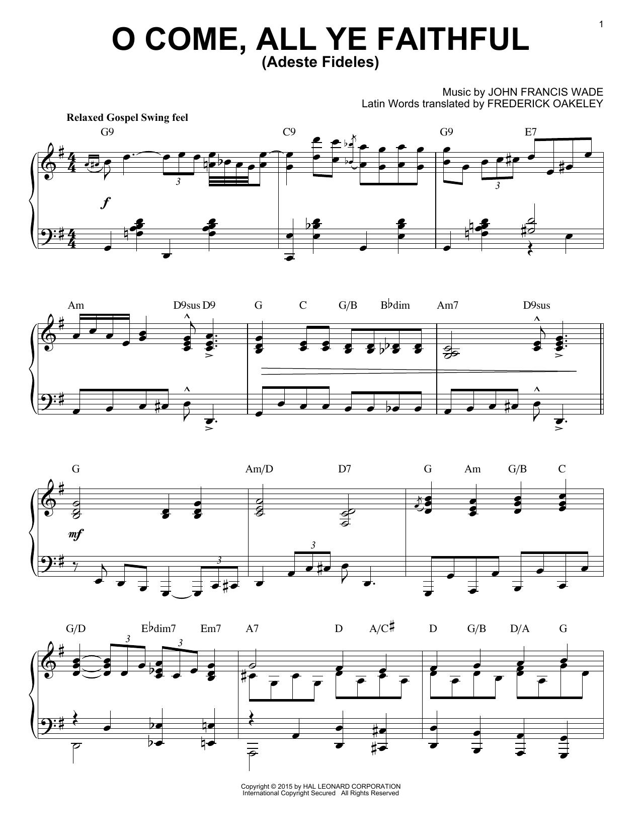 Partition piano O Come, All Ye Faithful (Adeste Fideles) de John Francis Wade - Piano Solo