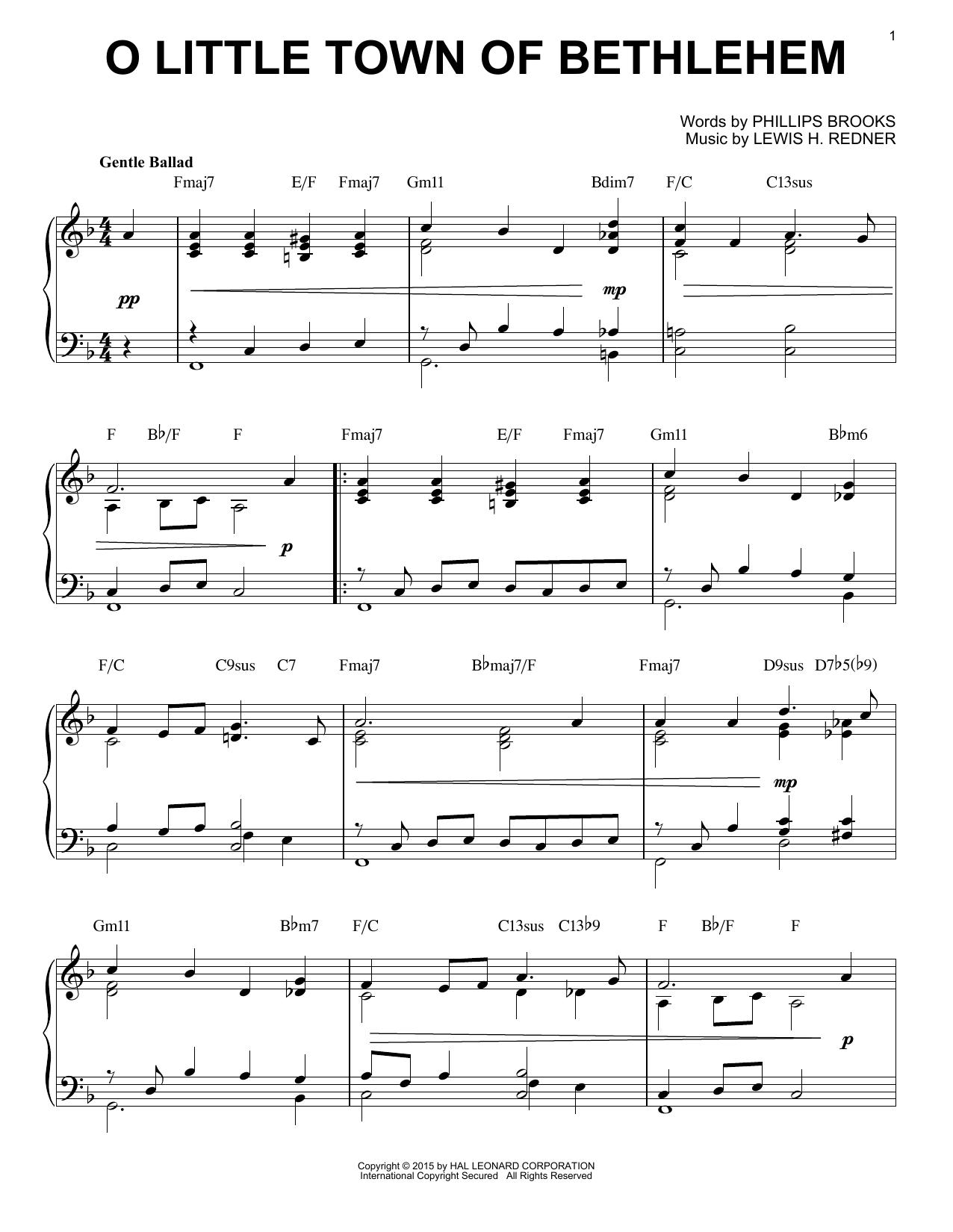 Partition piano O Little Town Of Bethlehem de Phillips Brooks - Piano Solo