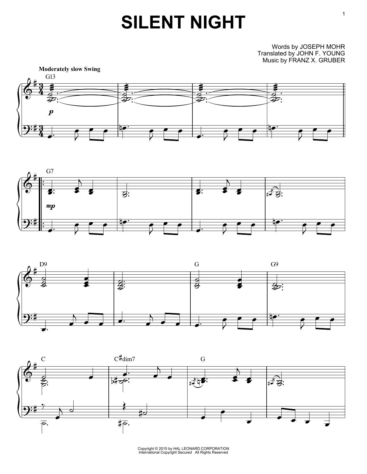 Partition piano Silent Night de Franz X. Gruber - Piano Solo