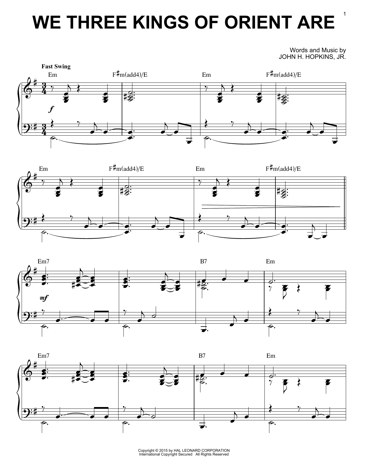 Partition piano We Three Kings Of Orient Are de John H. Hopkins, Jr. - Piano Solo