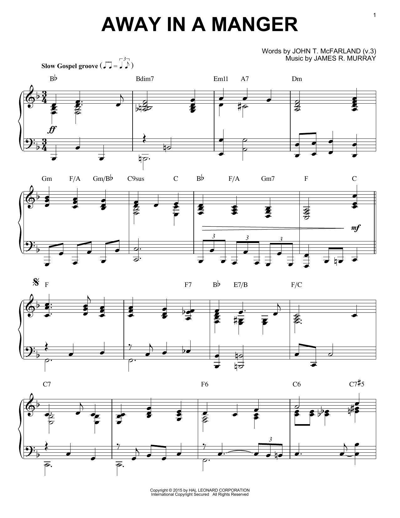 Partition piano Away In A Manger de James R. Murray - Piano Solo