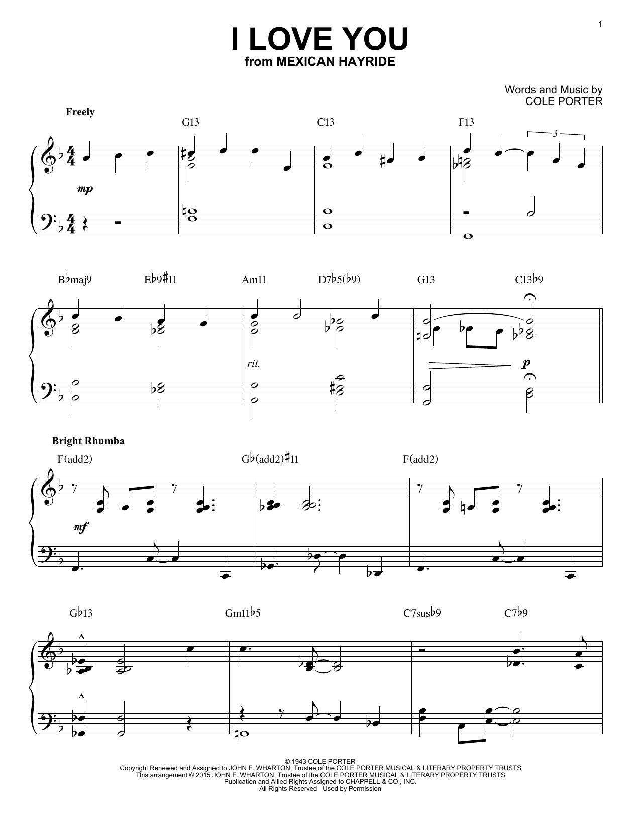 Partition piano I Love You de Cole Porter - Piano Solo