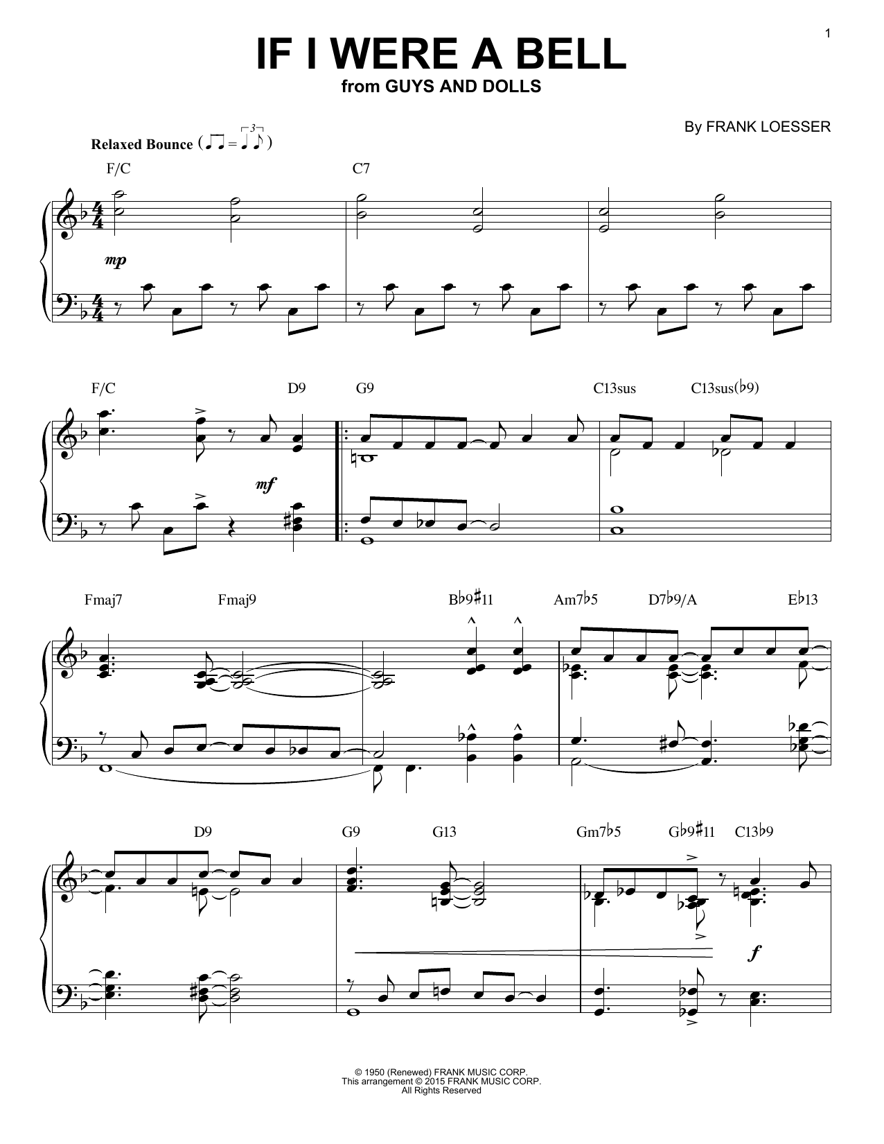 Partition piano If I Were A Bell de Frank Loesser - Piano Solo