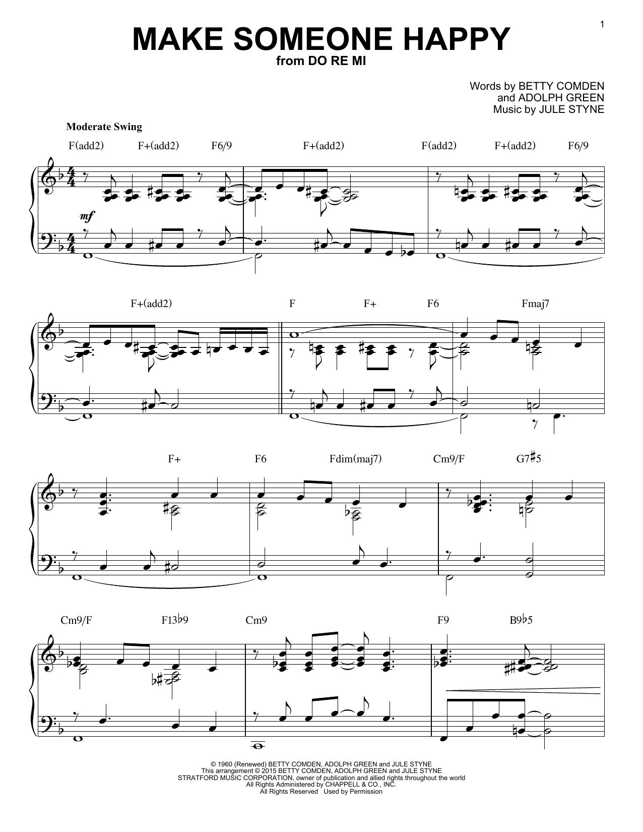 Partition piano Make Someone Happy de Adolph Green - Piano Solo