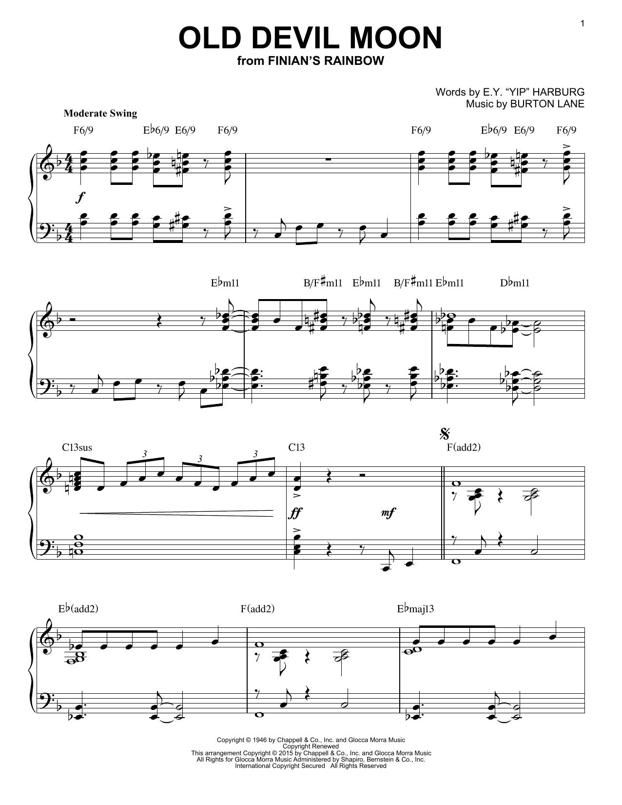 Partition piano Old Devil Moon de Burton Lane - Piano Solo