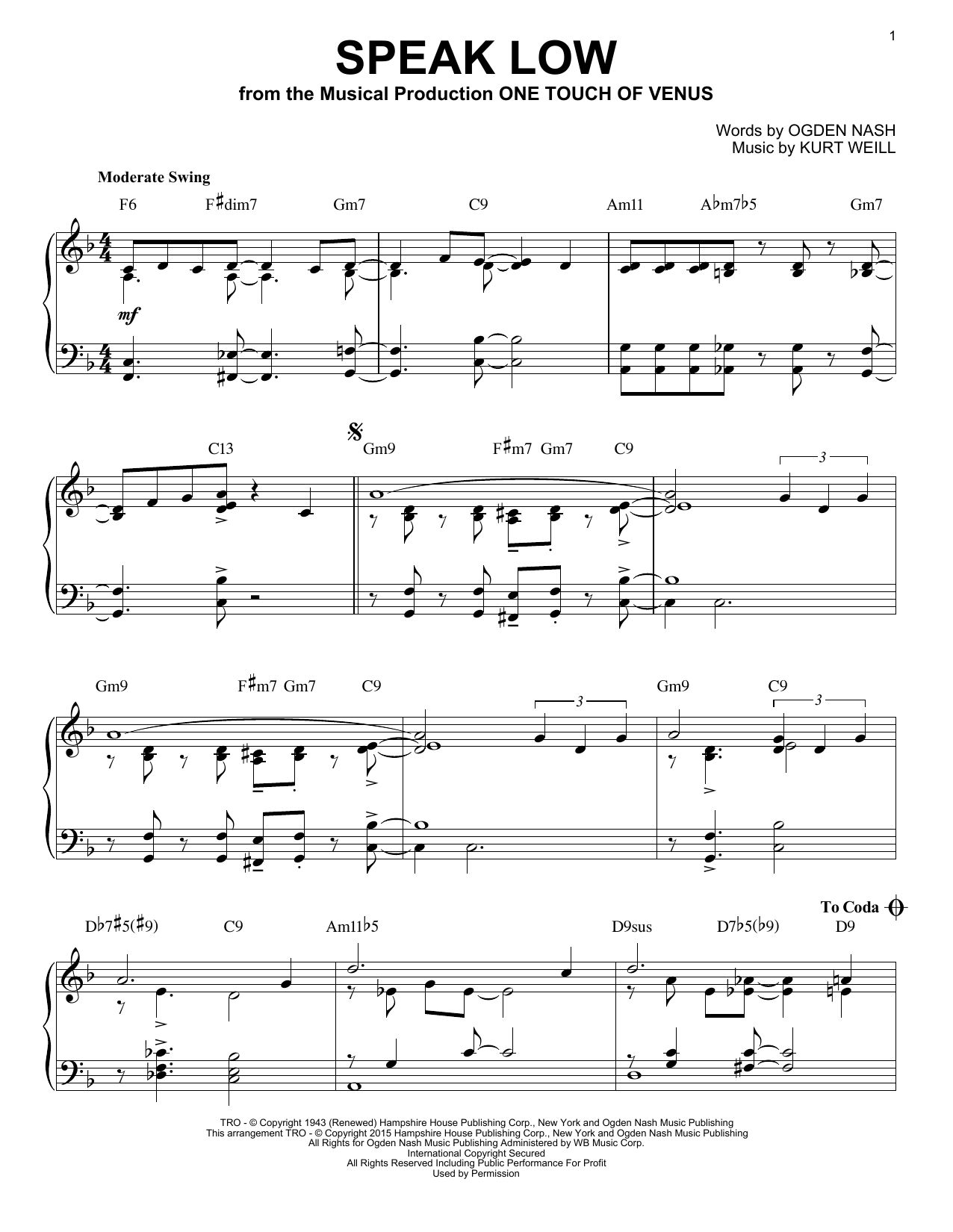 Partition piano Speak Low de Kurt Weill - Piano Solo