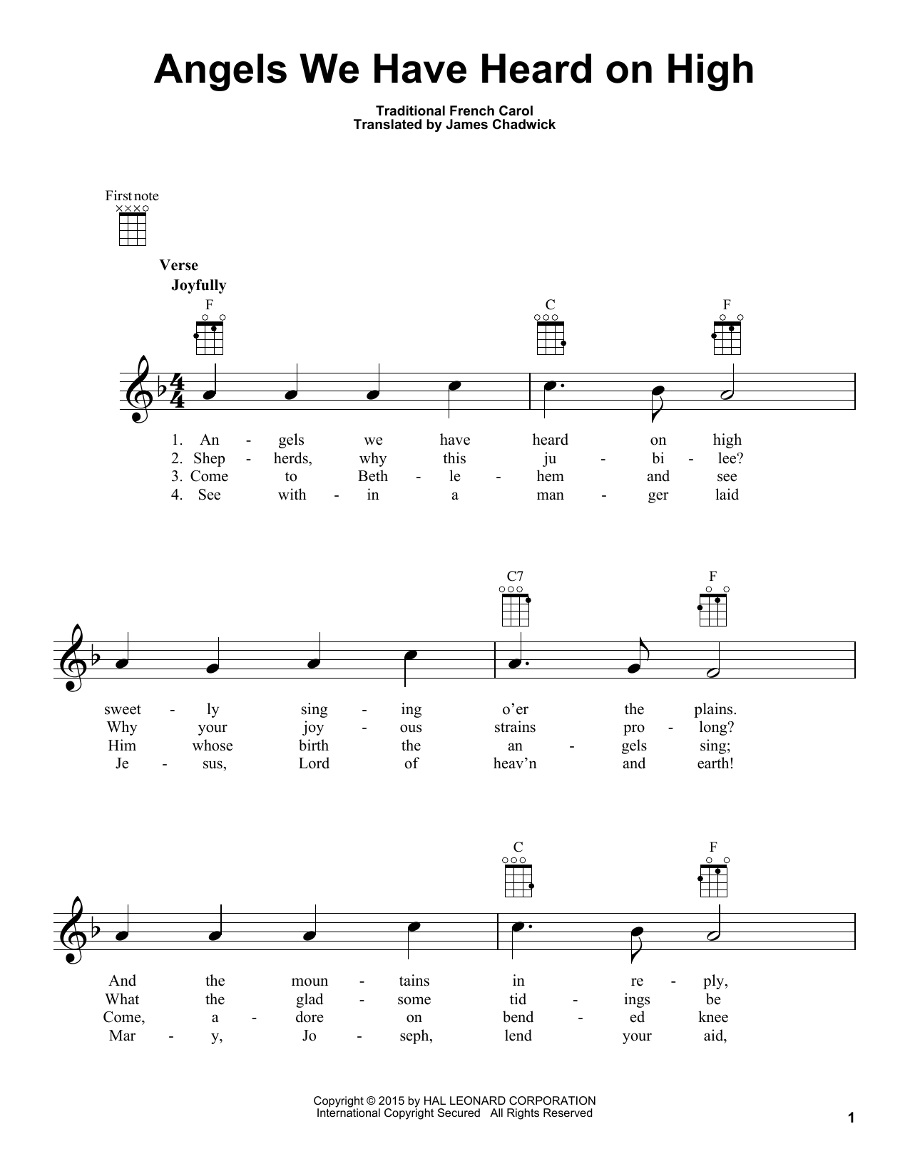 Tablature guitare Angels We Have Heard On High de James Chadwick - Ukulele