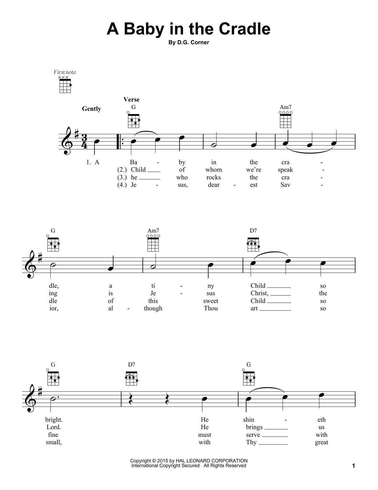 Tablature guitare A Baby In The Cradle de D.G. Corner - Ukulele