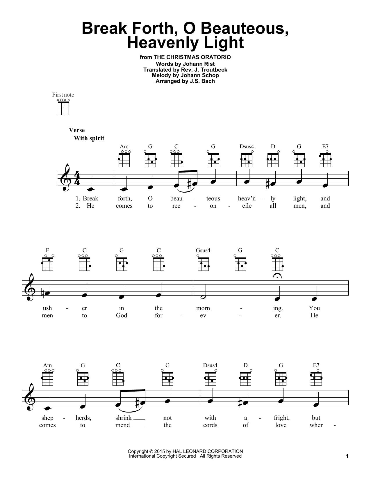 Tablature guitare Break Forth, O Beauteous, Heavenly Light de J.S. Bach - Ukulele