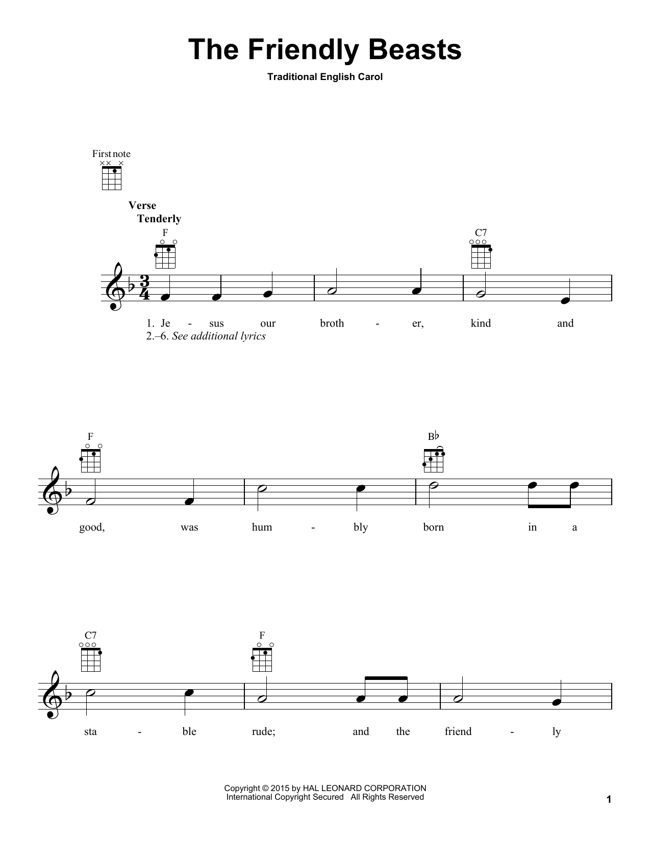 Tablature guitare The Friendly Beasts de Traditional Carol - Ukulele