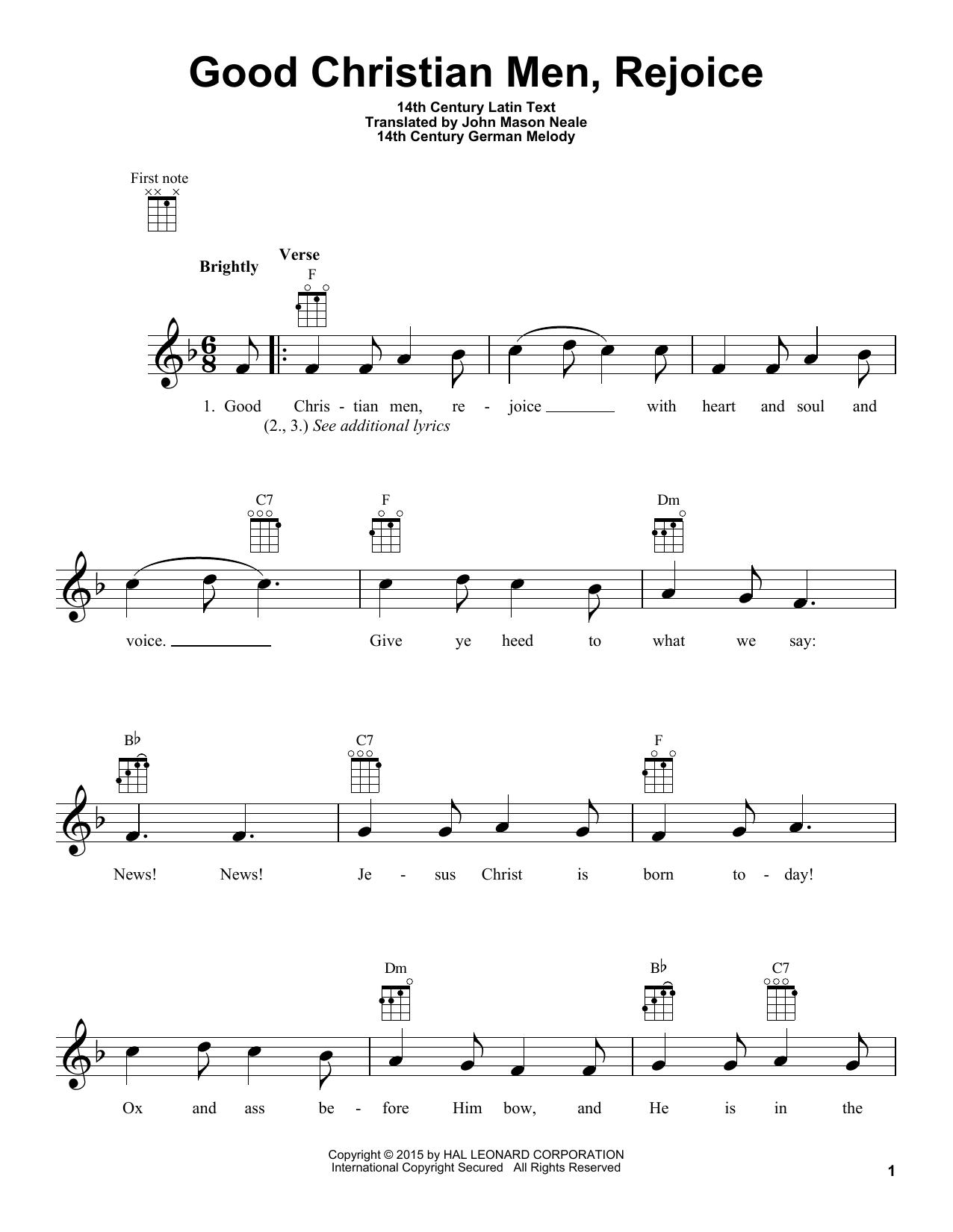 Tablature guitare Good Christian Men, Rejoice de John Mason Neale - Ukulele