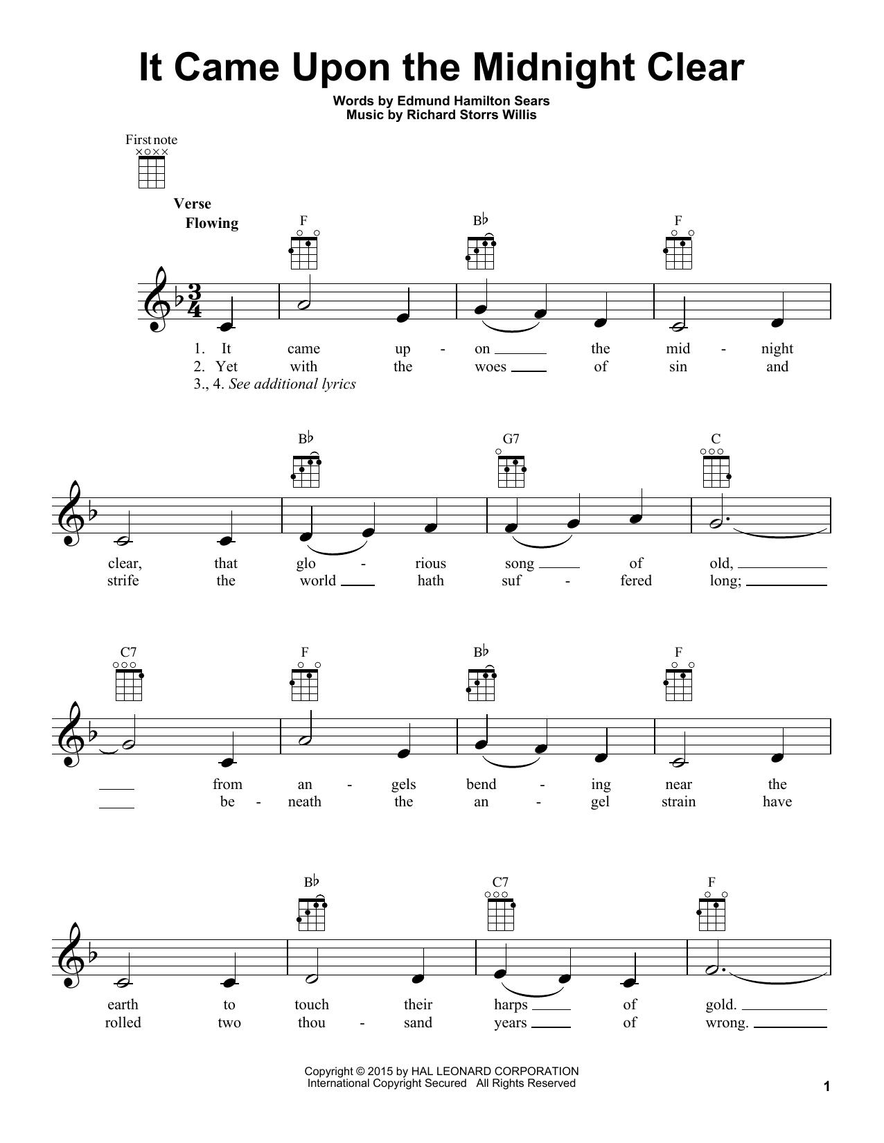 Tablature guitare It Came Upon The Midnight Clear de Edmund Hamilton Sears - Ukulele