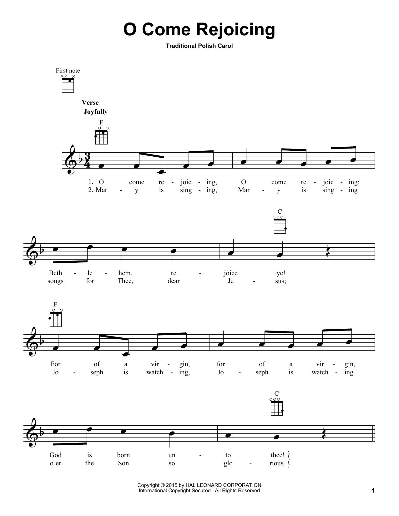 Tablature guitare O Come Rejoicing de Traditional Carol - Ukulele