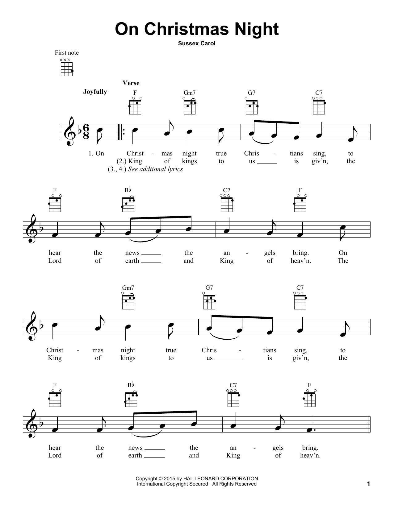 Tablature guitare On Christmas Night de Traditional Carol - Ukulele