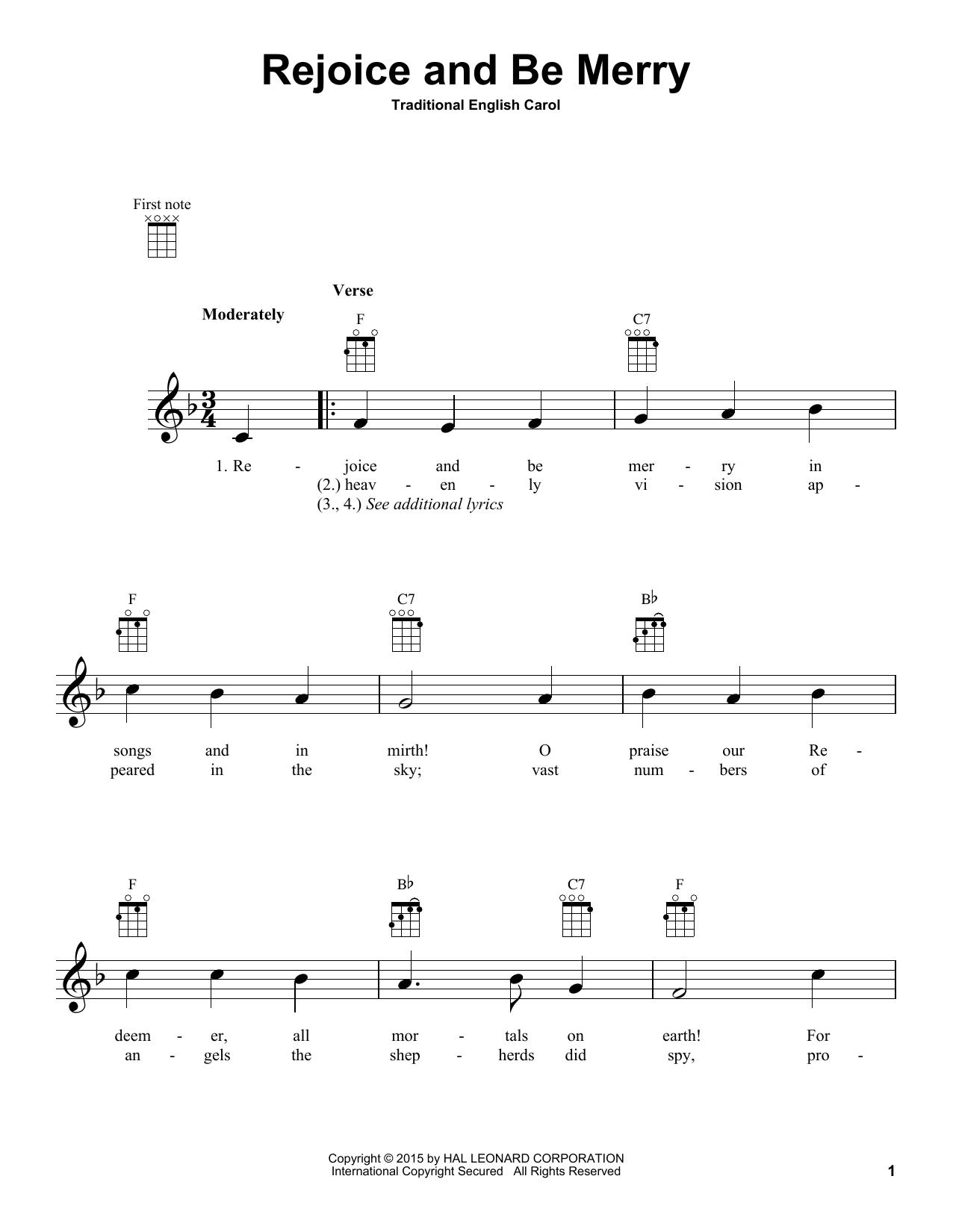 Tablature guitare Rejoice And Be Merry de Christmas Carol - Ukulele