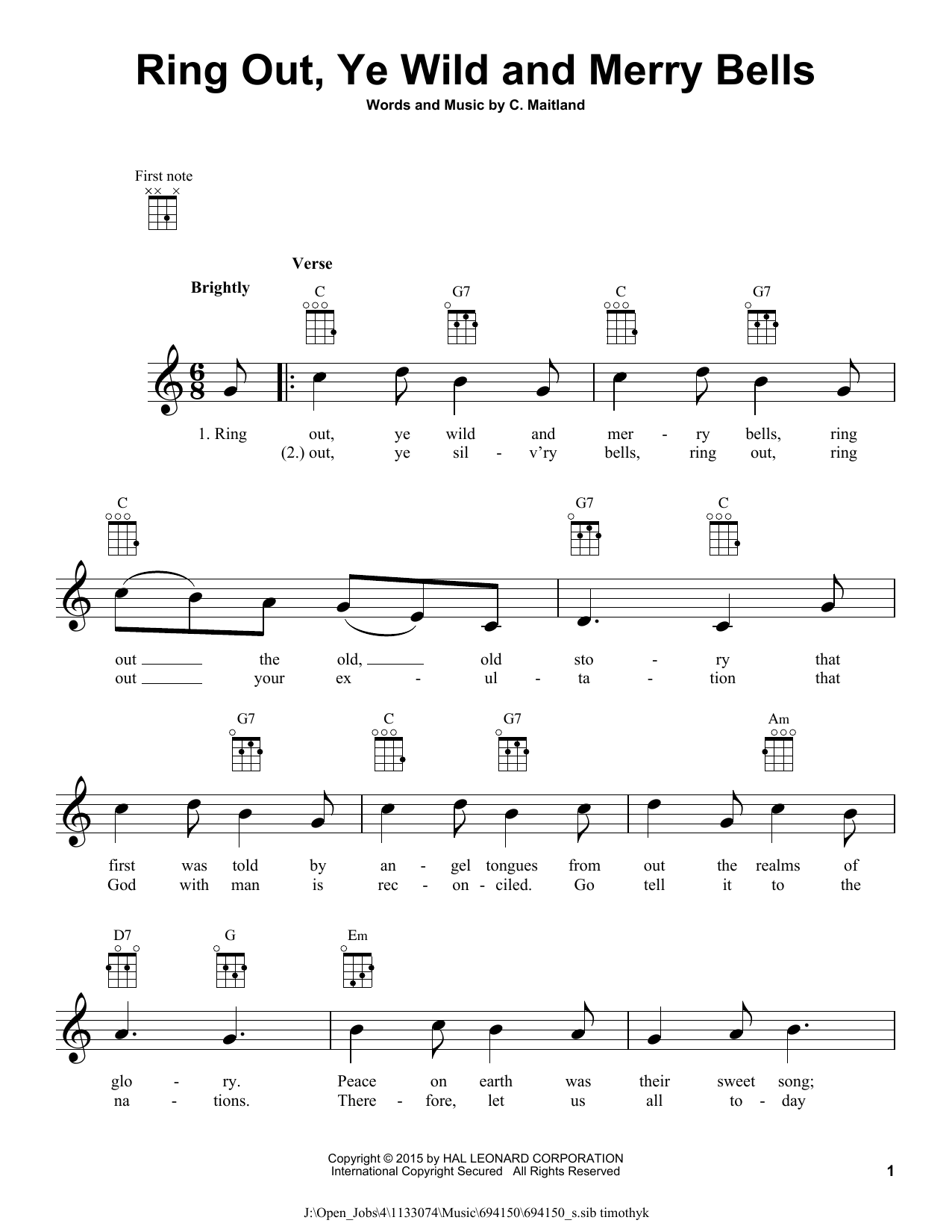 Tablature guitare Ring Out, Ye Wild And Merry Bells de C. Maitland - Ukulele
