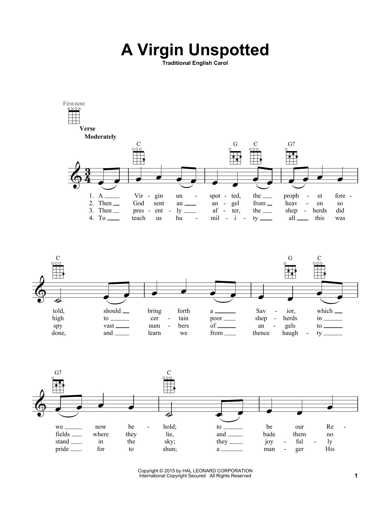 Tablature guitare A Virgin Unspotted de Traditional English Carol - Ukulele