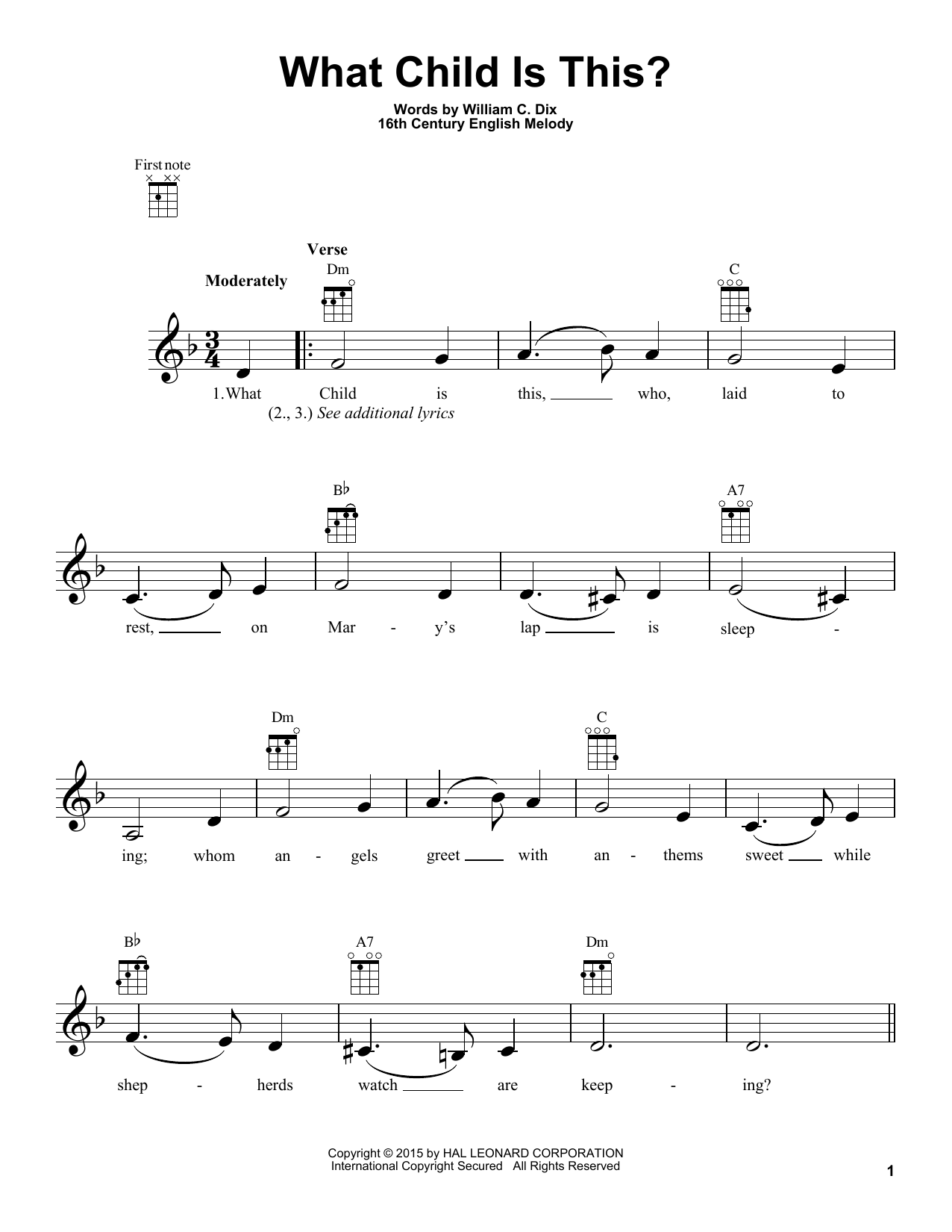 Tablature guitare What Child Is This? de William C. Dix - Ukulele