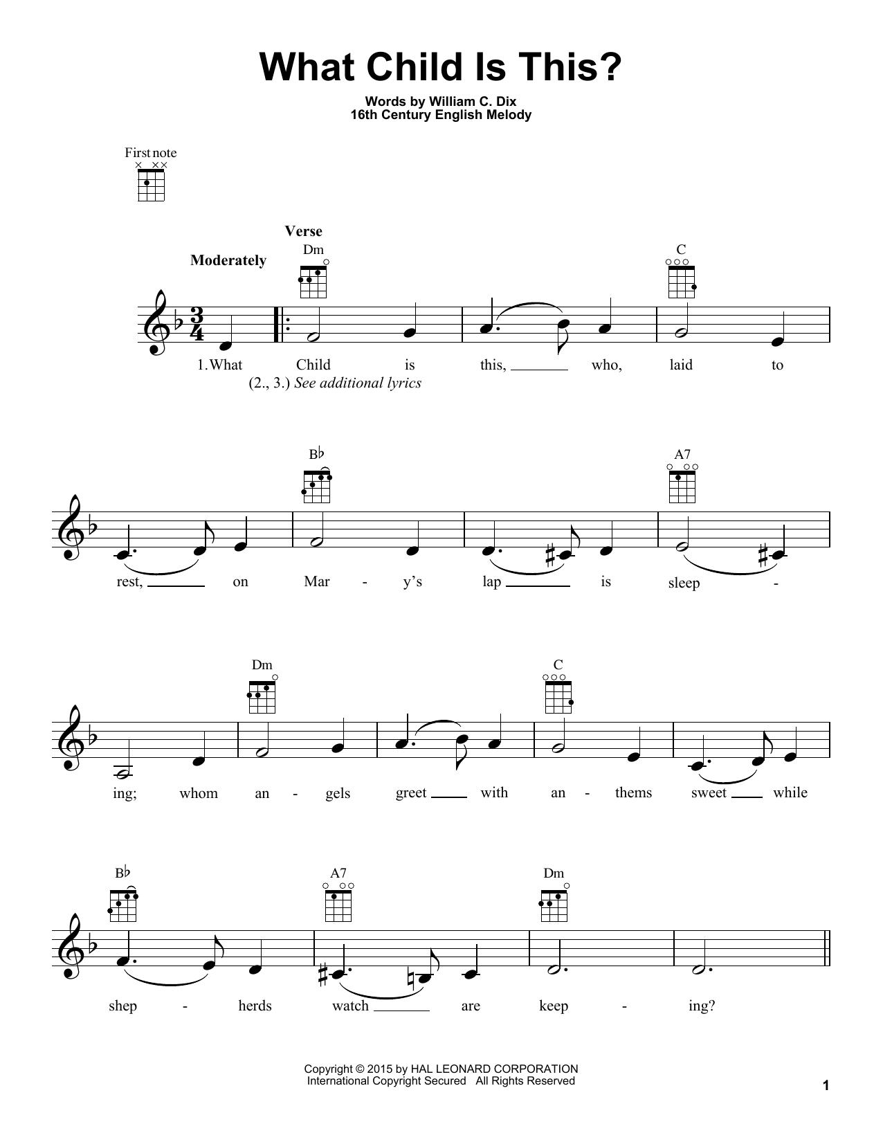 Tablature guitare What Child Is This? de William C. Dix - Ukulele