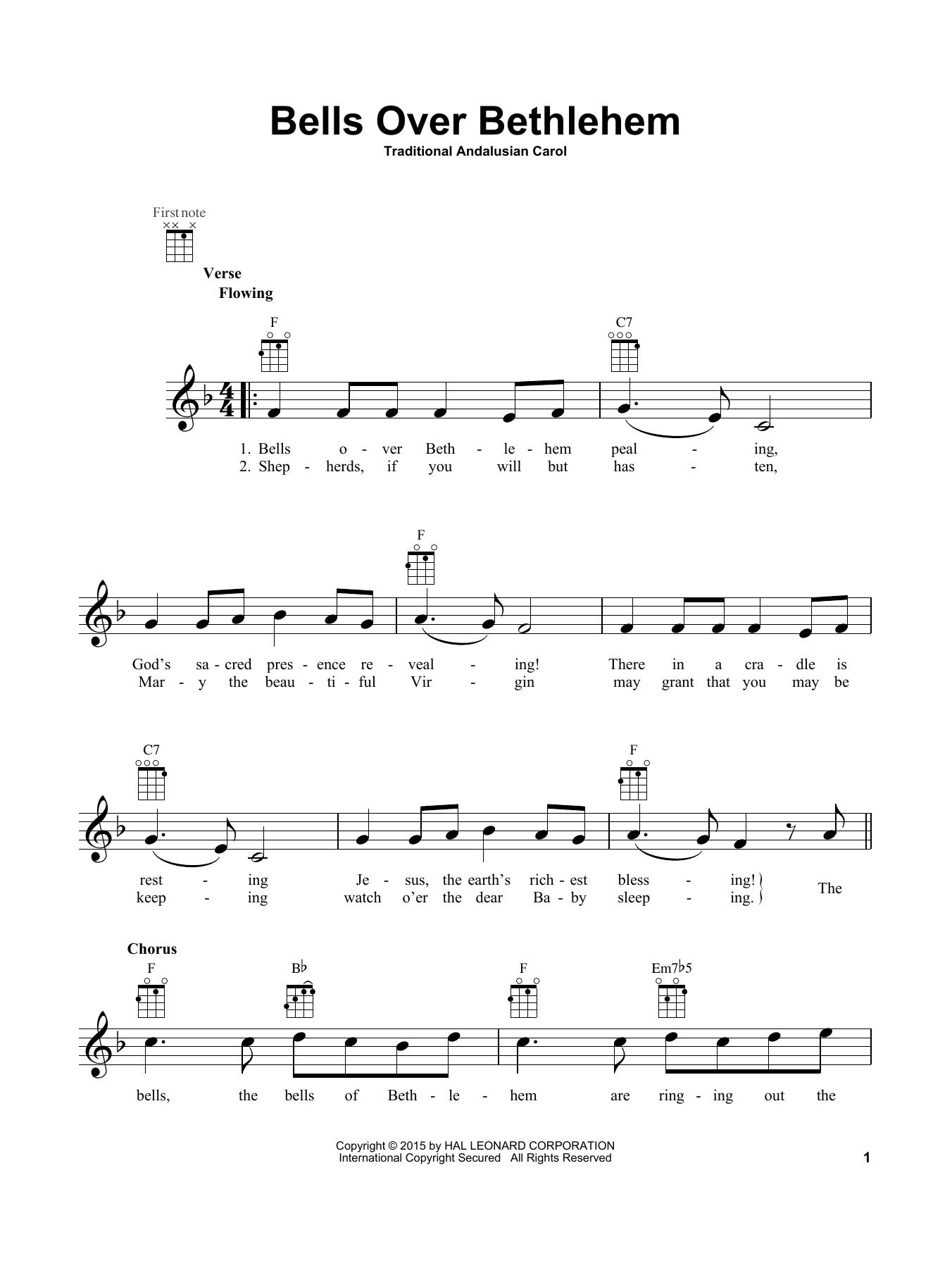 Tablature guitare Bells Over Bethlehem de Traditional Carol - Ukulele