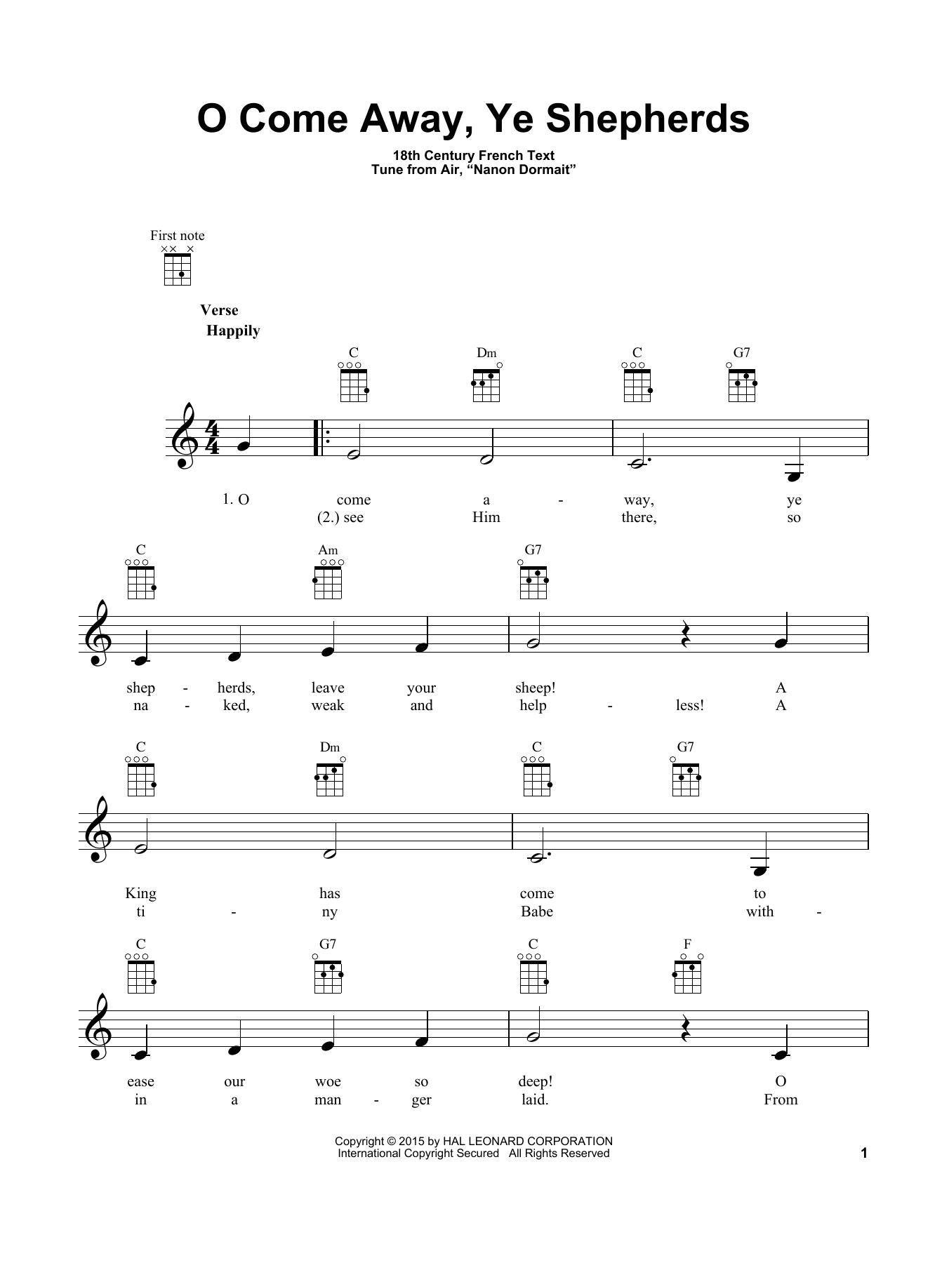Tablature guitare O Come Away, Ye Shepherds de Traditional Carol - Ukulele