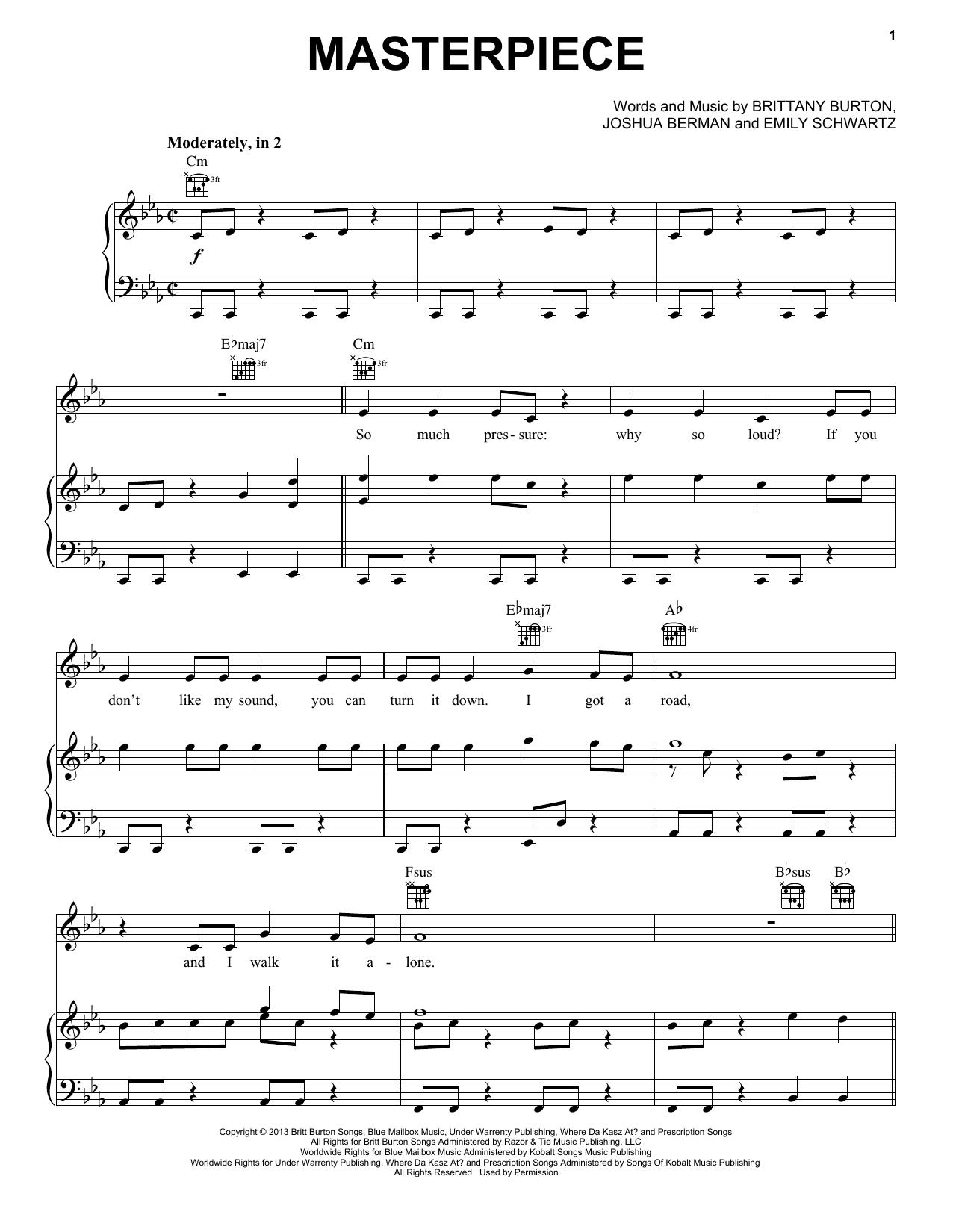 Partition piano Masterpiece de Jessie J - Piano Voix Guitare (Mélodie Main Droite)