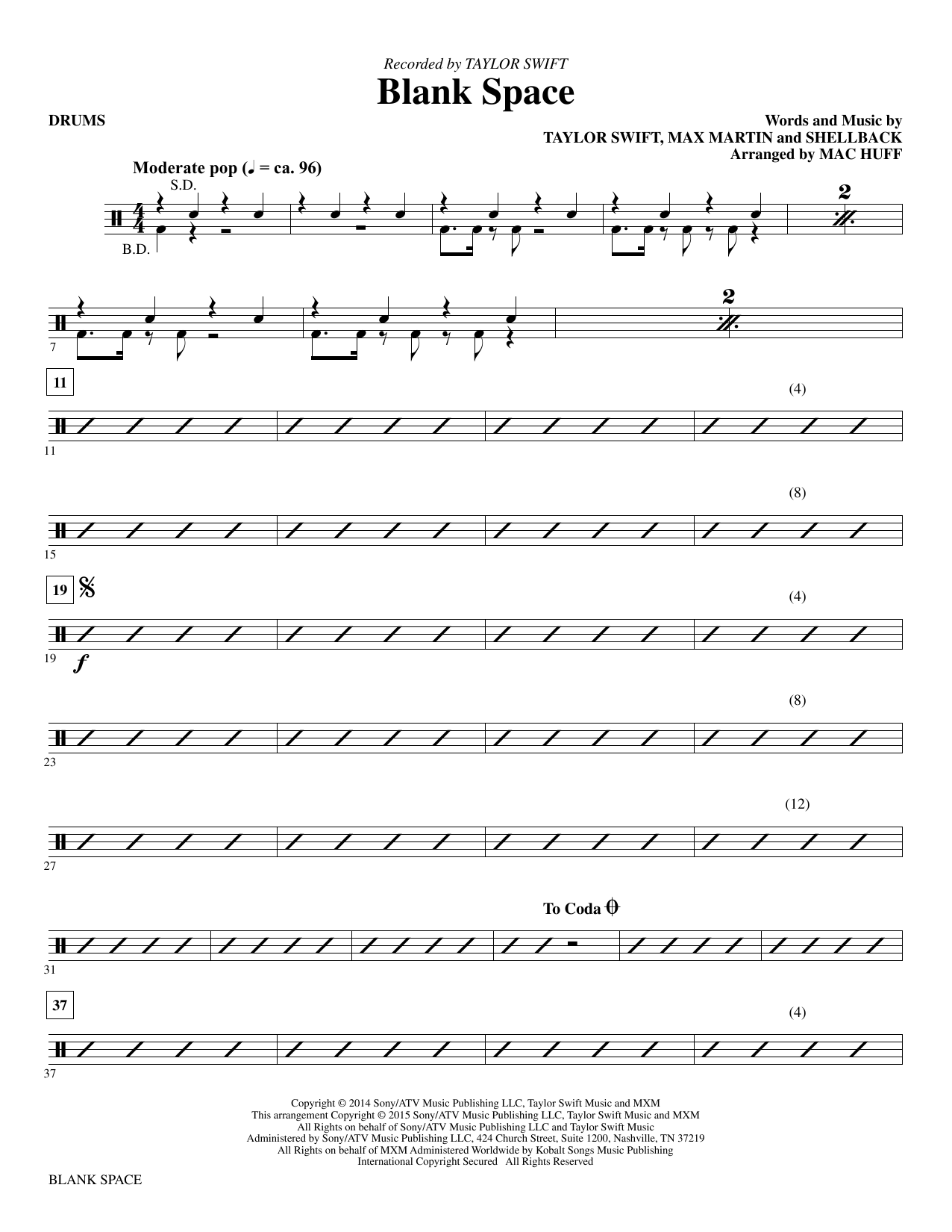 Blank Space - Drums : Sheet Music Direct