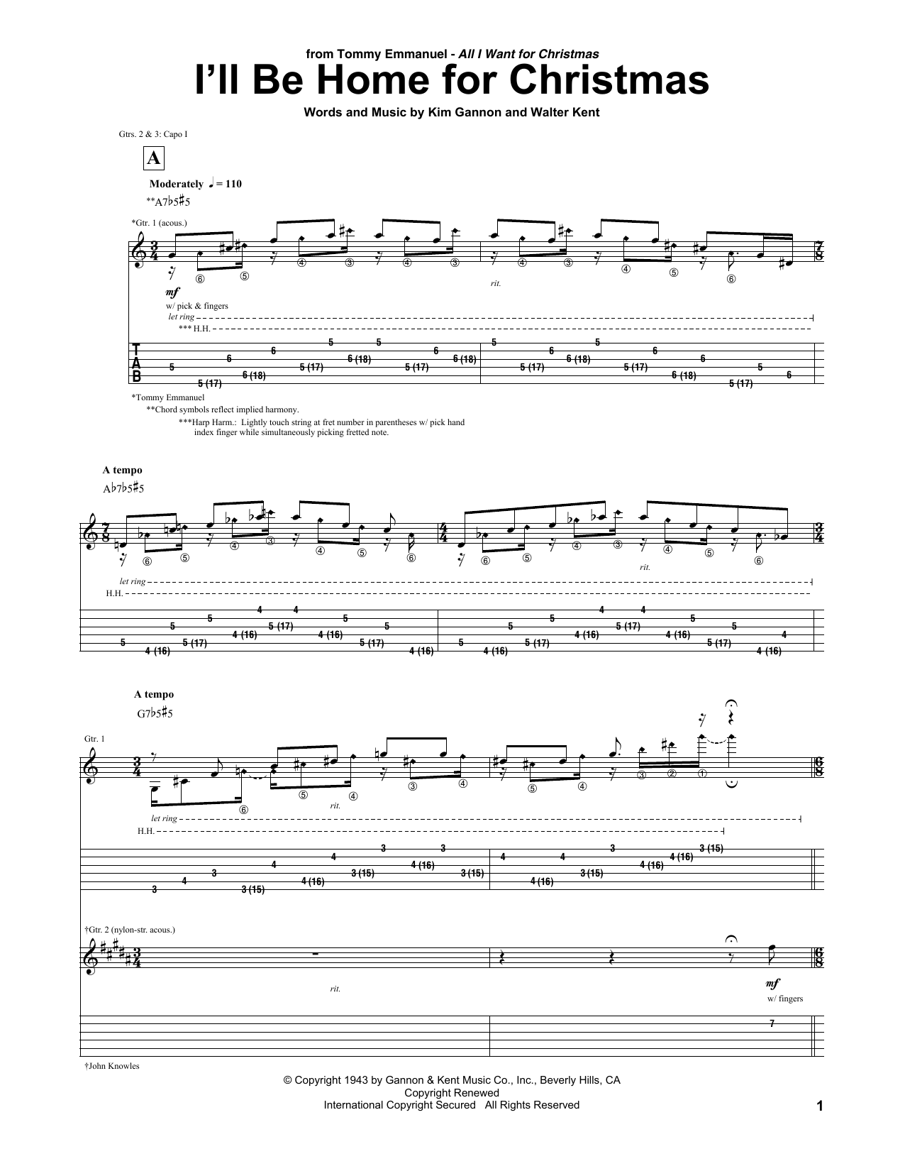Tablature guitare I'll Be Home For Christmas de Tommy Emmanuel - Tablature Guitare