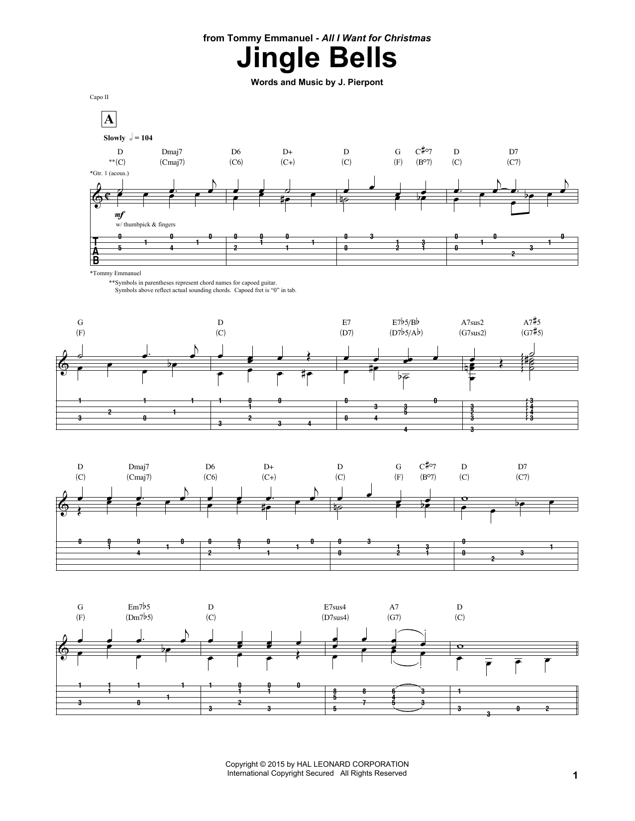 Tablature guitare Jingle Bells de Tommy Emmanuel - Tablature Guitare