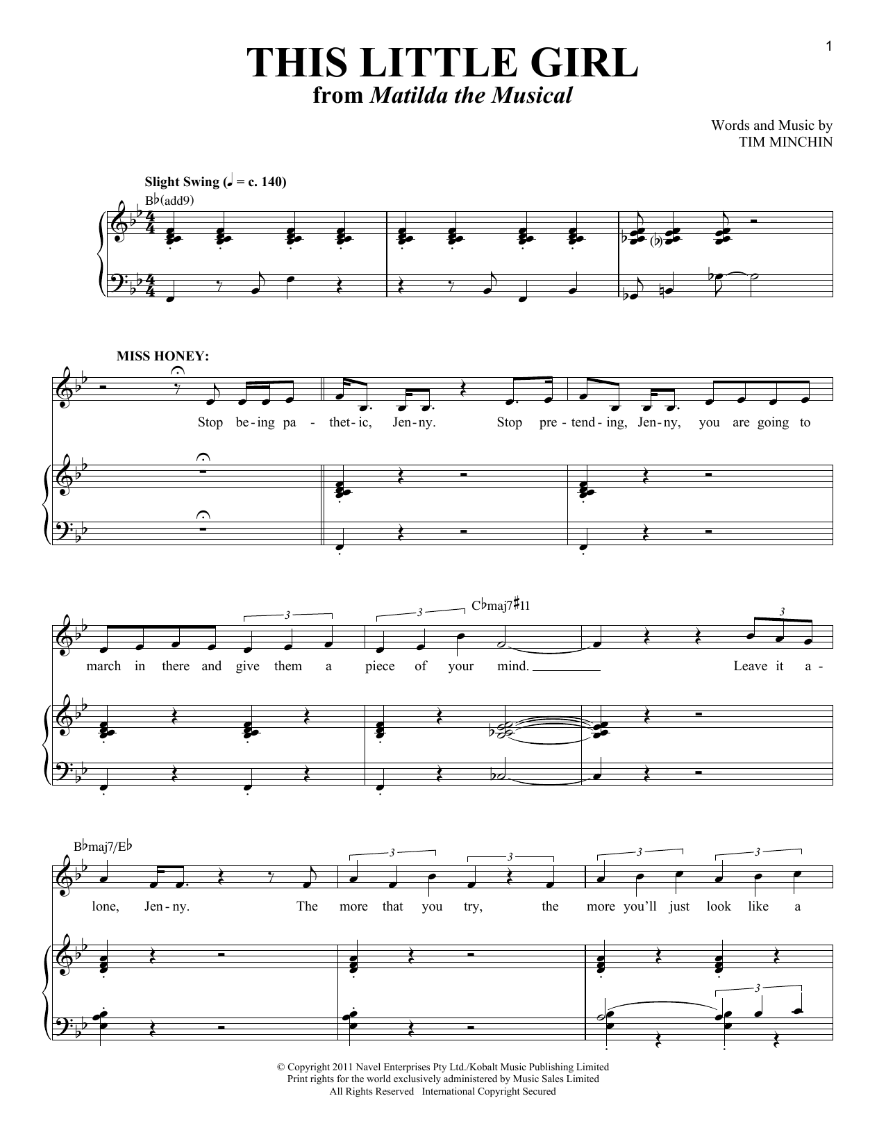Partition piano This Little Girl de Tim Minchin - Piano Voix