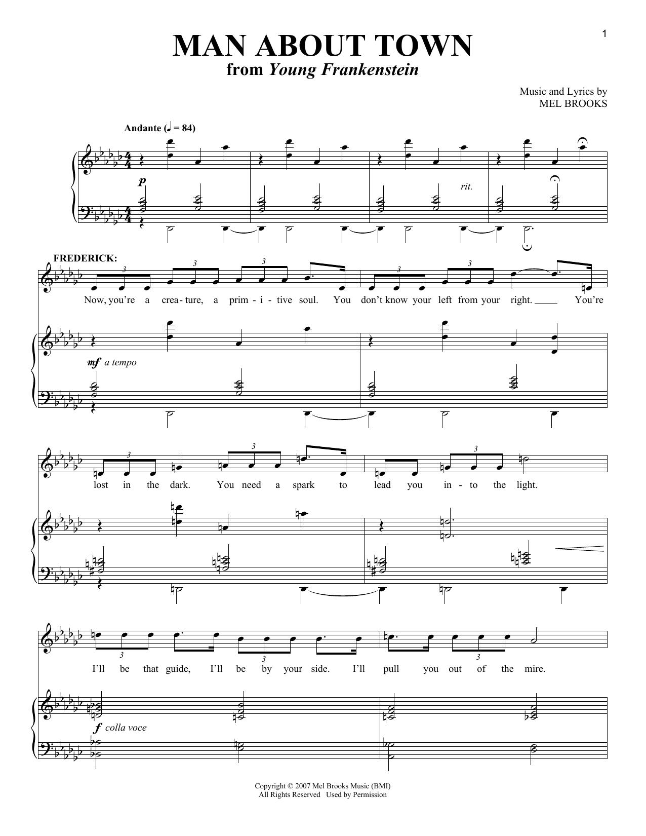 Partition piano Man About Town de Mel Brooks - Piano Voix