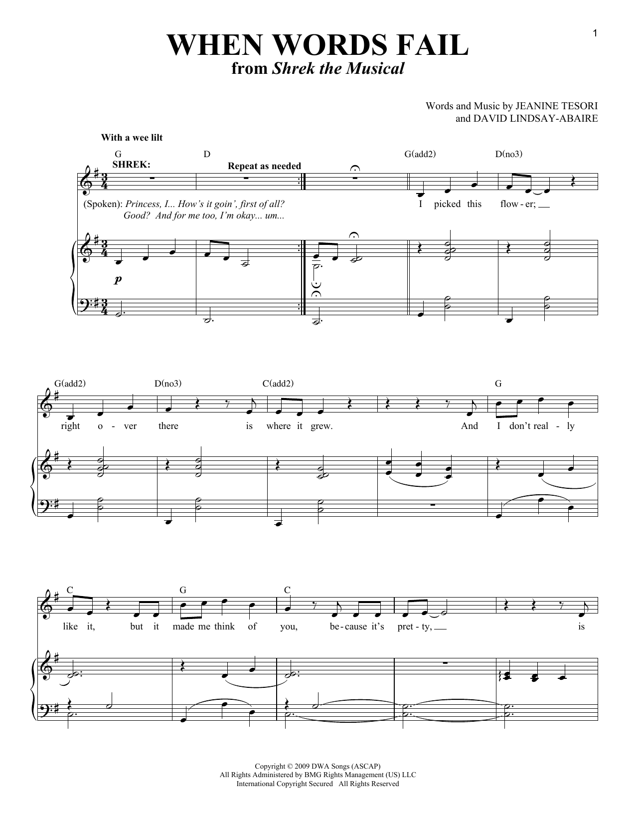 Partition piano When Words Fail (from 'Shrek The Musical') de Jeanine Tesori - Piano Voix