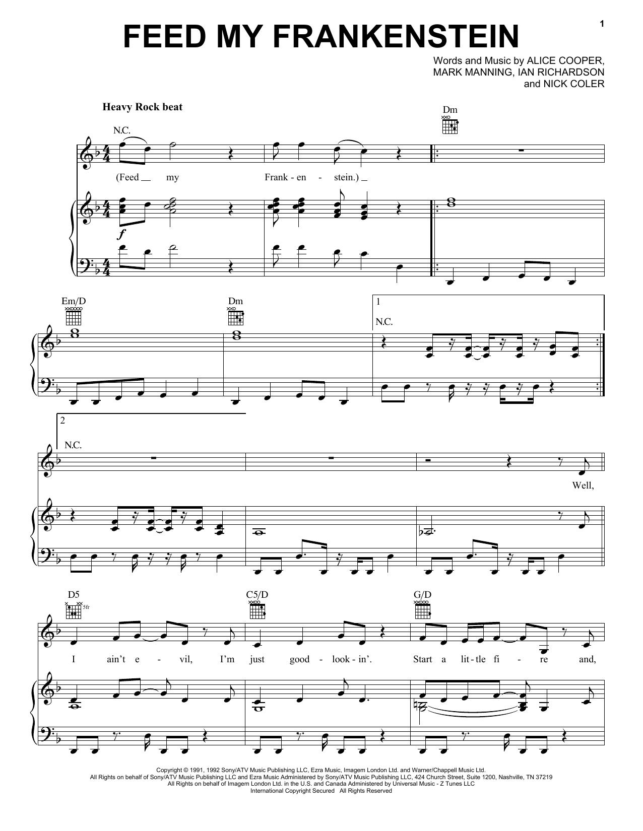Partition piano Feed My Frankenstein de Alice Cooper - Piano Voix Guitare (Mélodie Main Droite)
