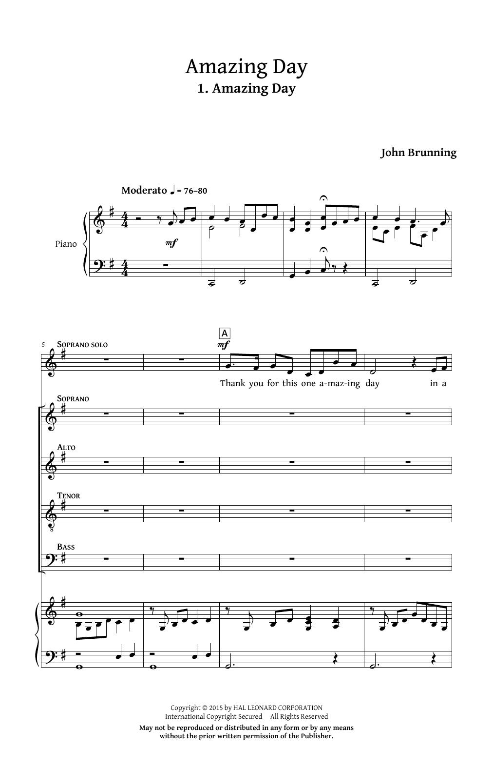 Partition autre Amazing Day de John Brunning - Autre