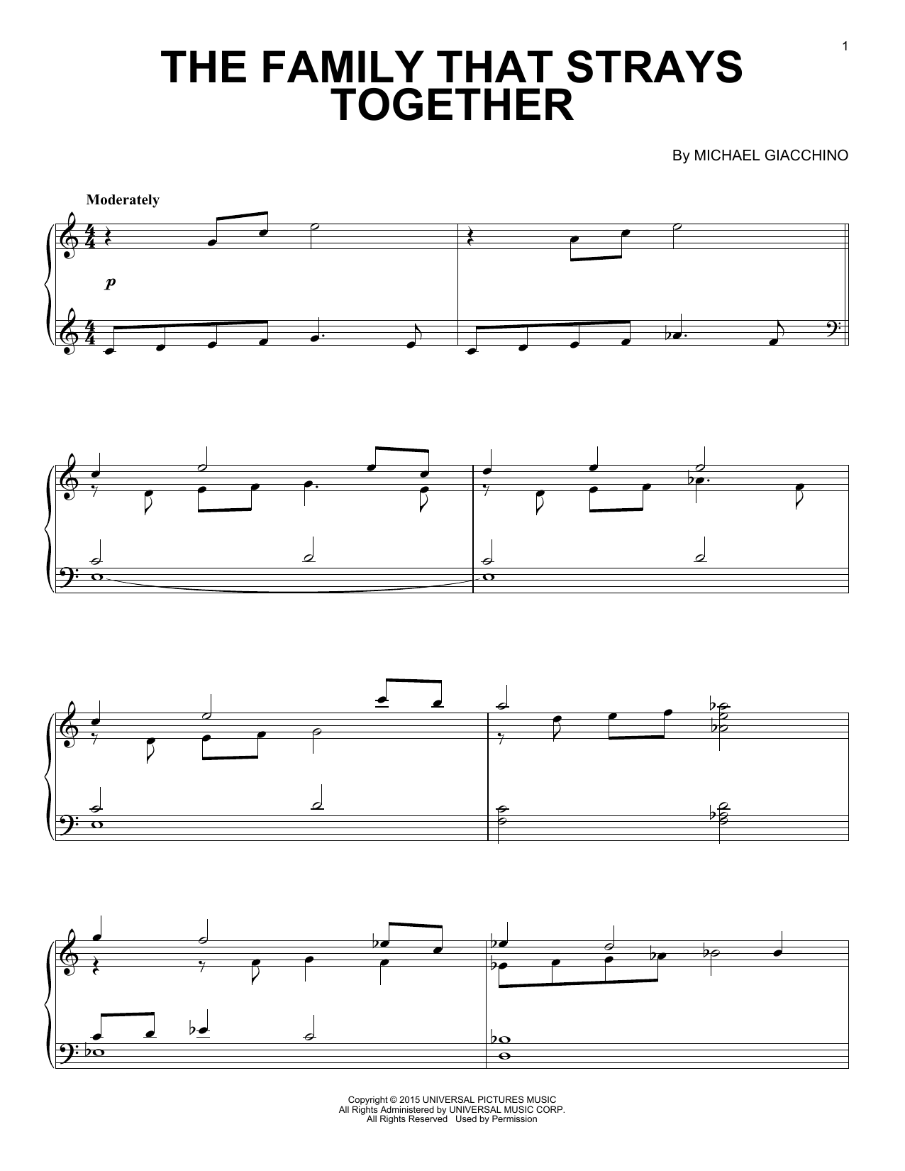 Partition piano The Family That Strays Together de Michael Giacchino - Piano Solo
