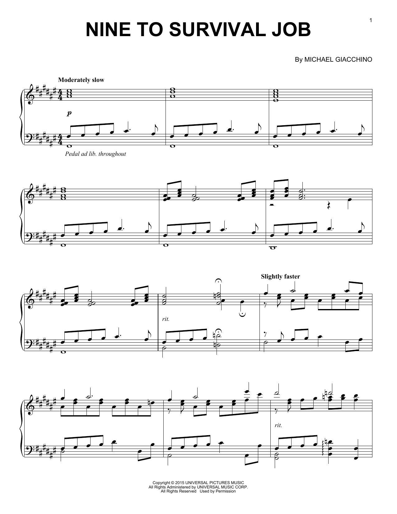 Partition piano Nine To Survival Job de Michael Giacchino - Piano Solo