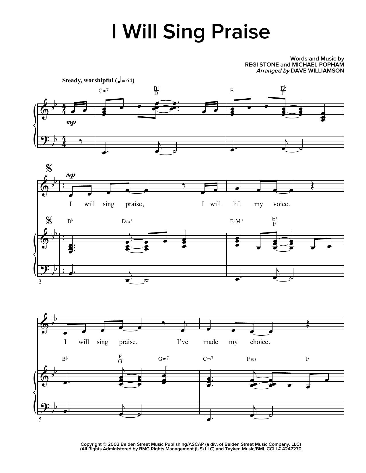 Partition piano I Will Sing Praise de Regi Stone - Piano Voix