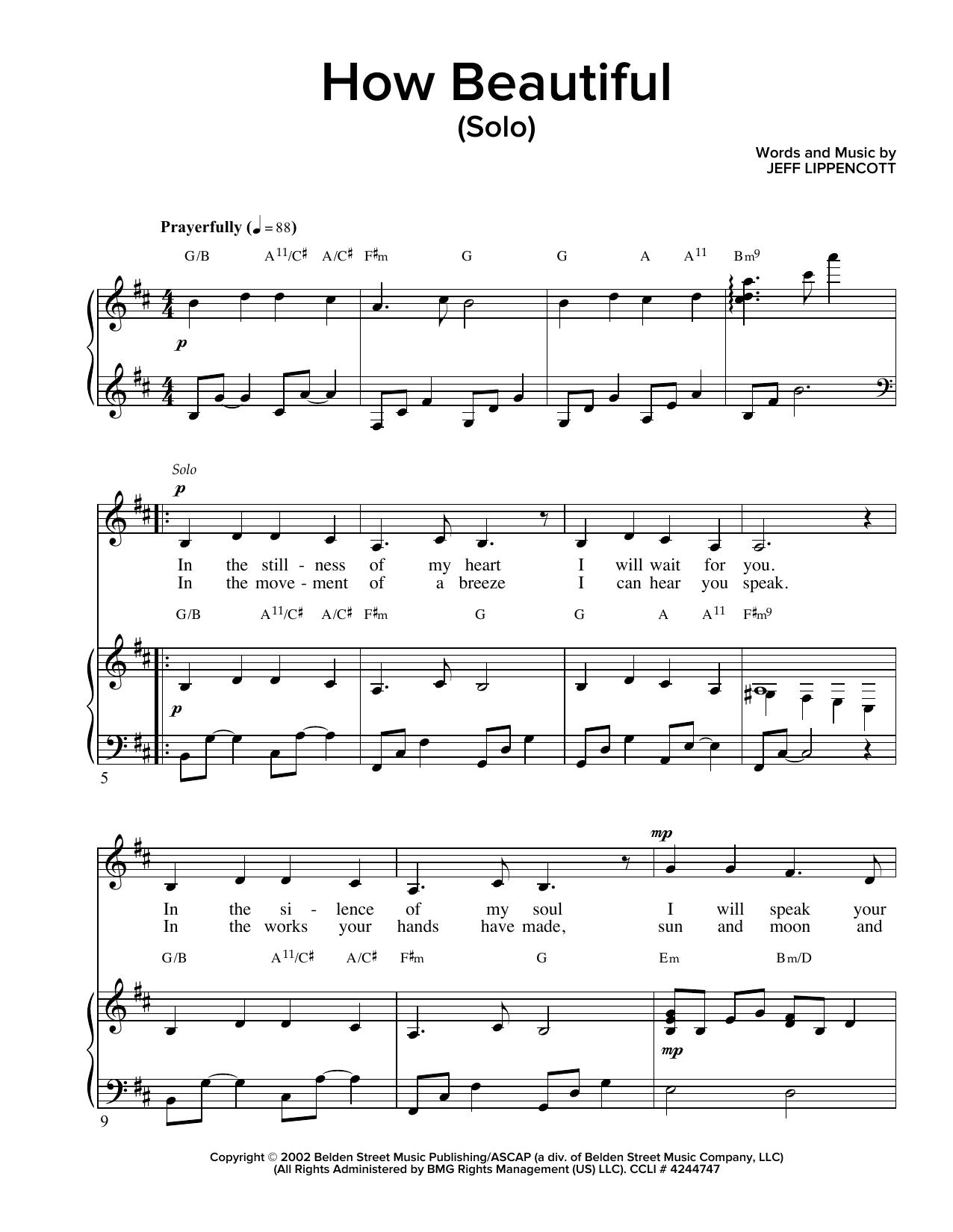 Partition piano How Beautiful de Jeff Lippencott - Piano Voix