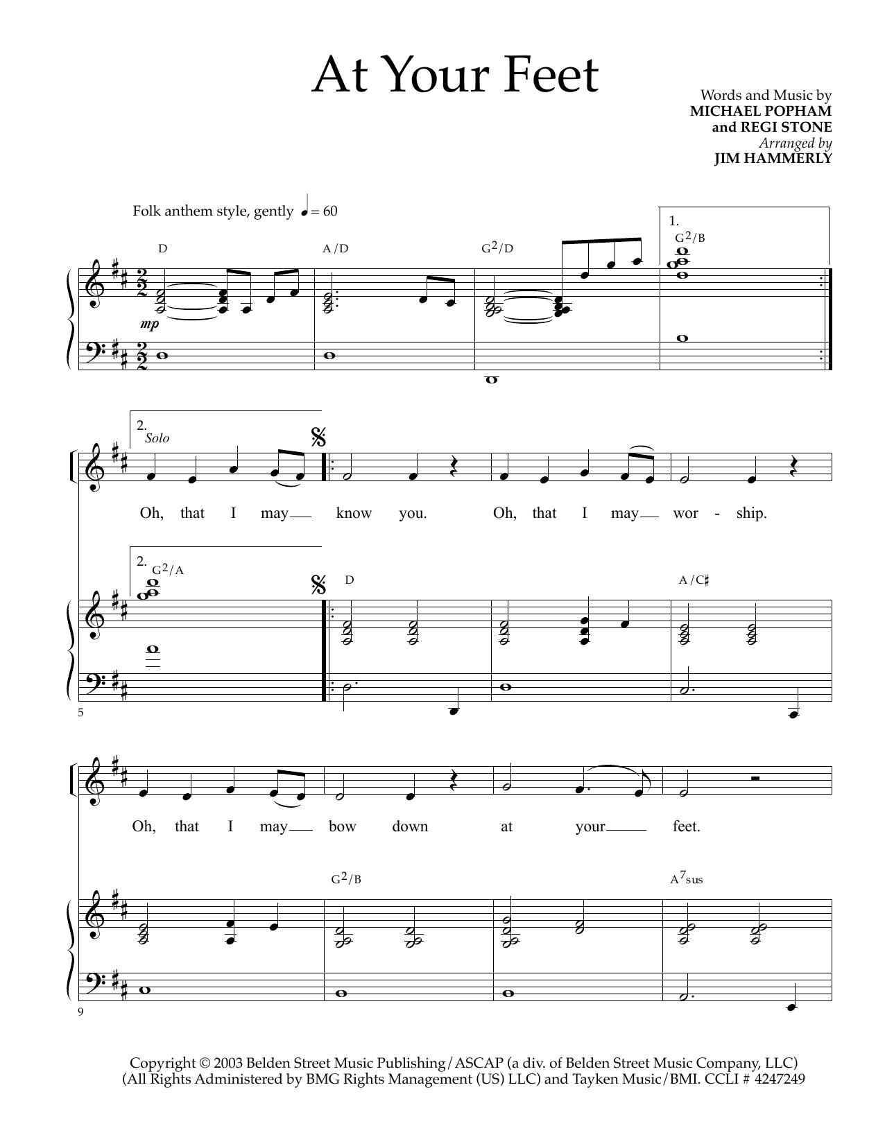 Partition piano At Your Feet de Regi Stone - Piano Voix