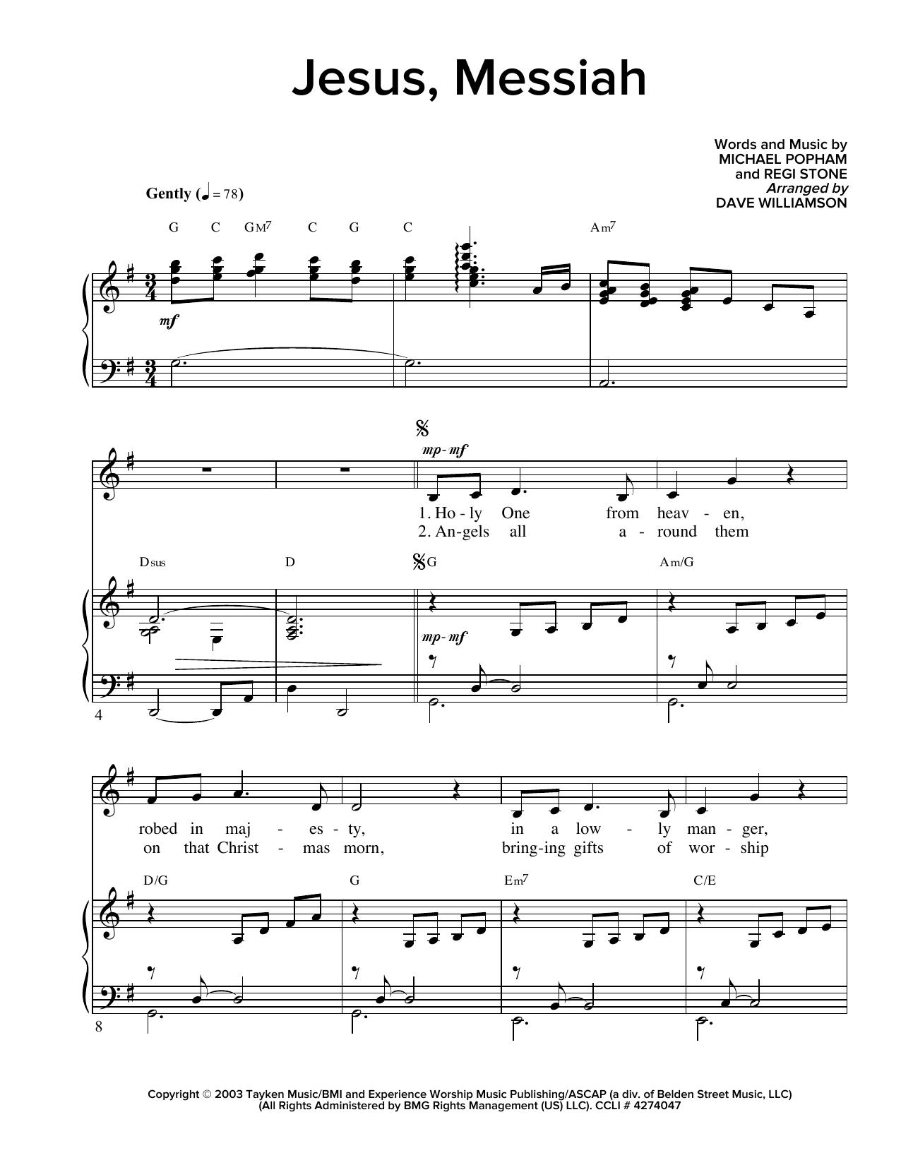 Partition piano Jesus, Messiah de Regi Stone - Piano Voix