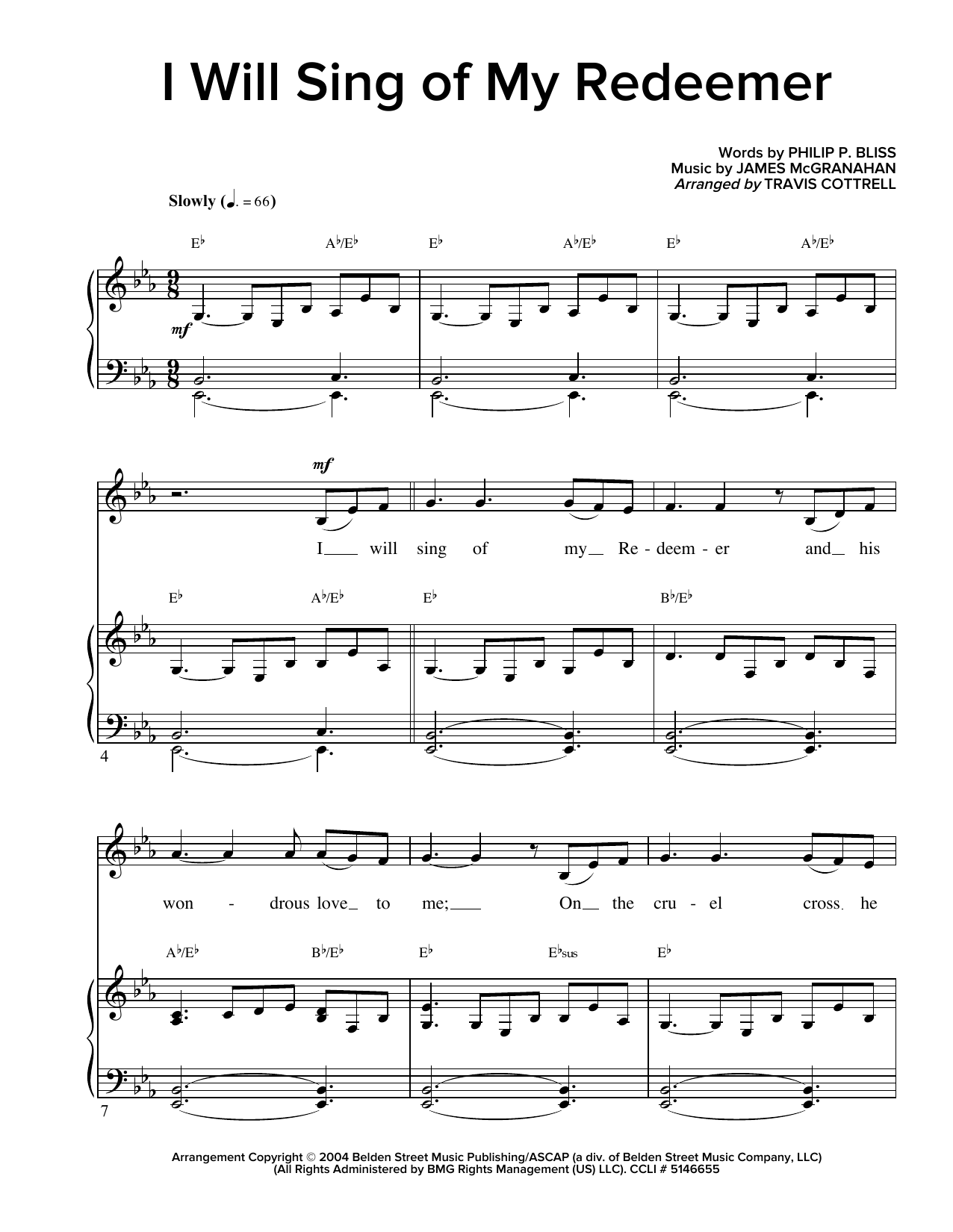 Partition piano I Will Sing Of My Redeemer de Travis Cottrell - Piano Voix