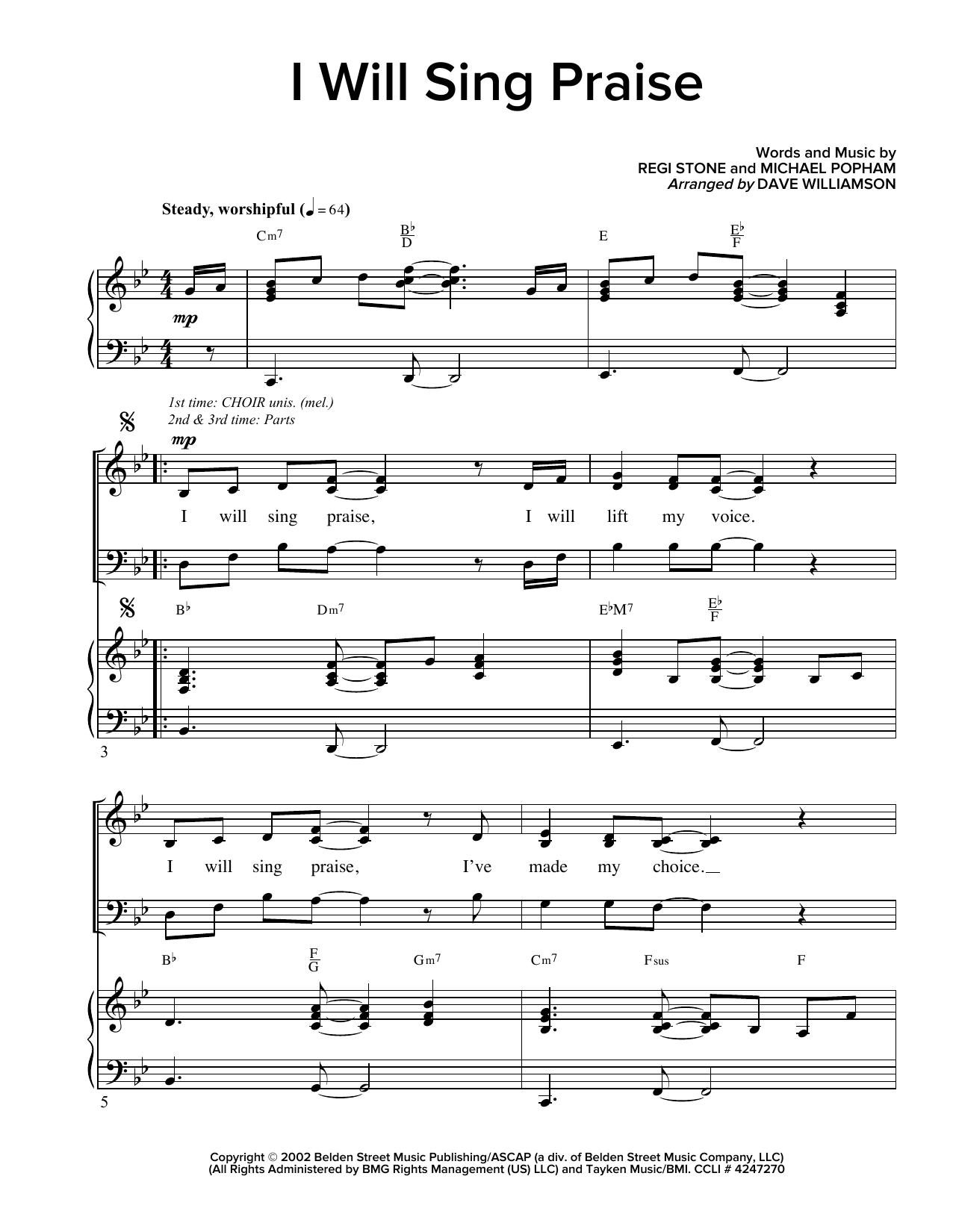 Partition chorale I Will Sing Praise de Regi Stone - SATB