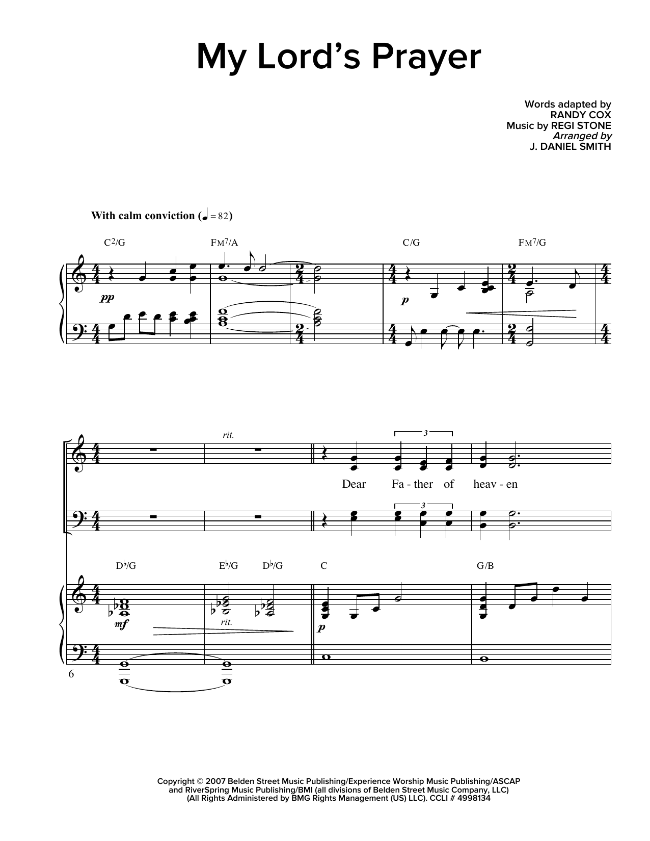 Partition chorale My Lord's Prayer de Regi Stone - SATB