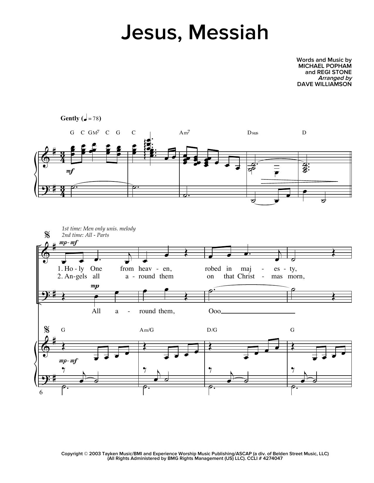 Partition chorale Jesus, Messiah de Regi Stone - SATB
