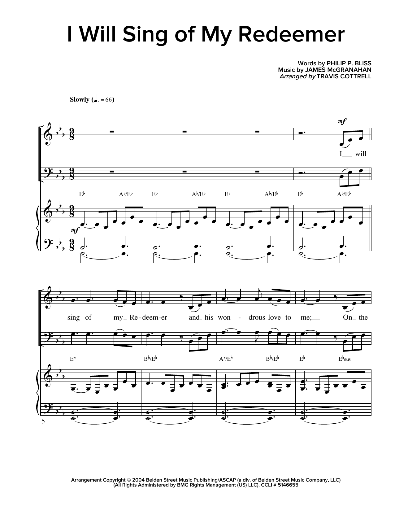 Partition chorale I Will Sing Of My Redeemer de Travis Cottrell - SATB
