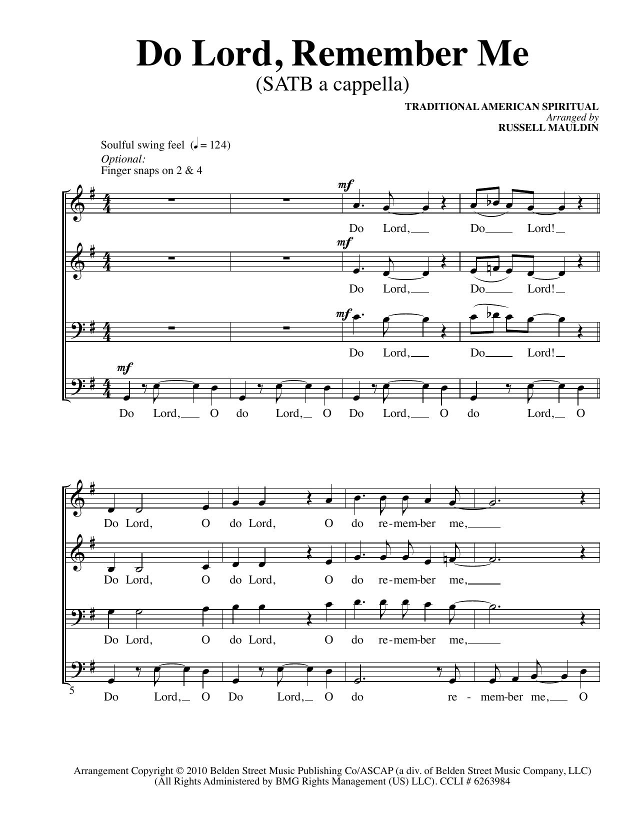 Partition chorale Do Lord, Remember Me (Arr. Russell Mauldin) de African-American Spiritual - SATB
