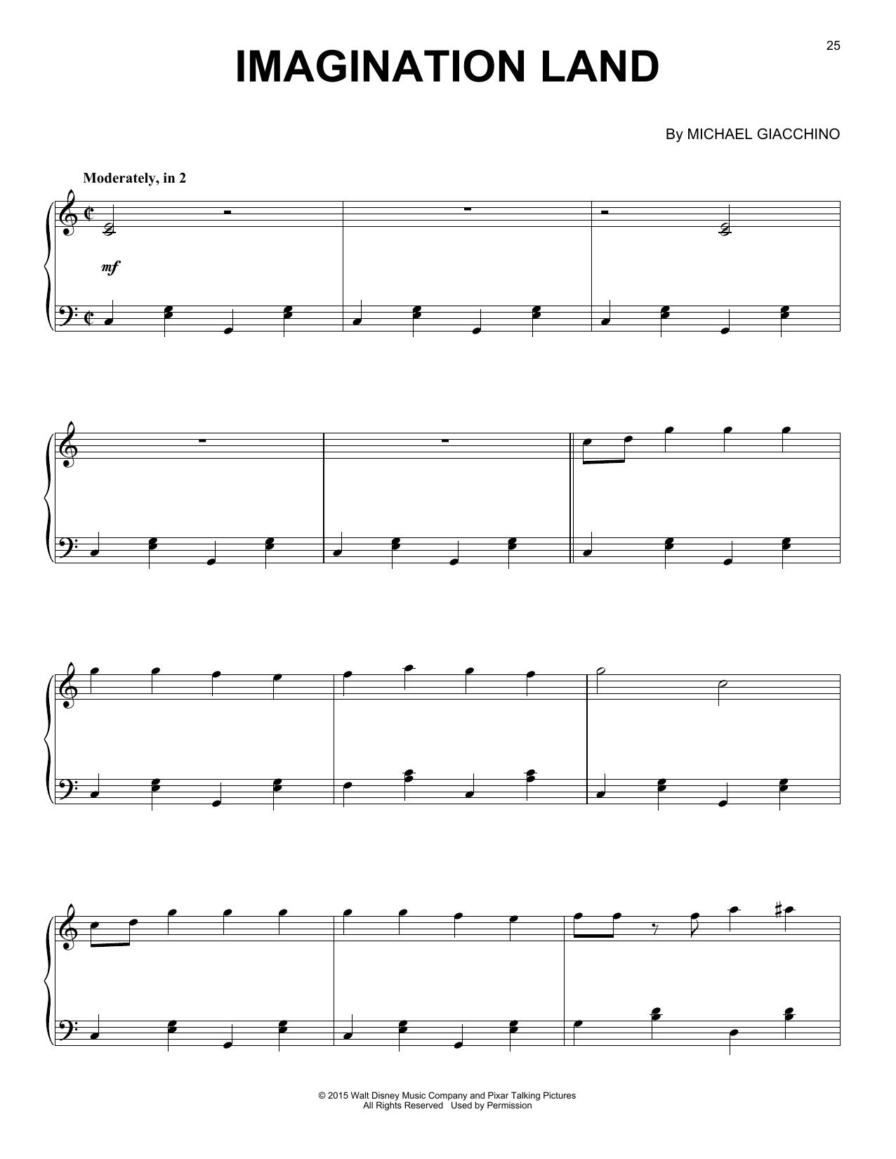 Partition piano Imagination Land de Michael Giacchino - Piano Solo