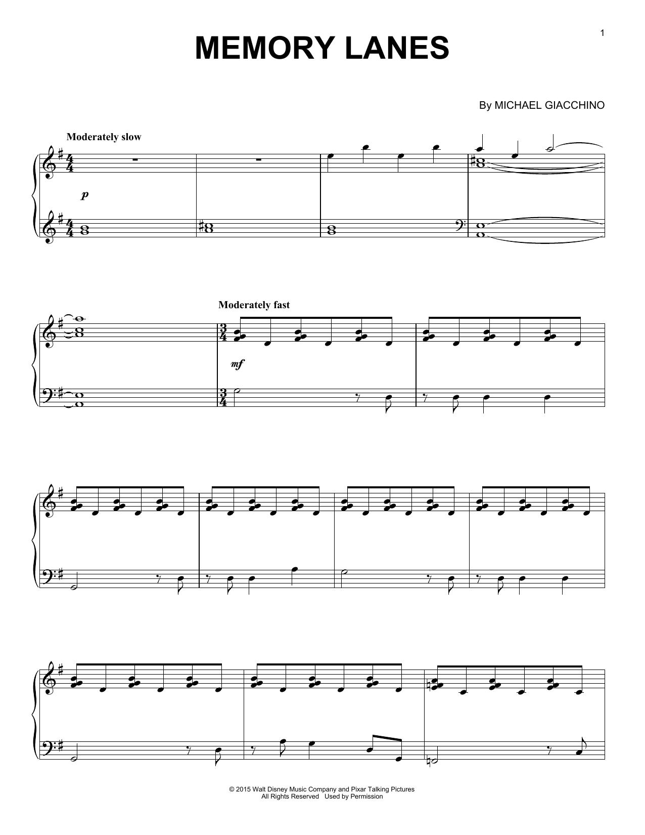 Partition piano Memory Lanes de Michael Giacchino - Piano Solo