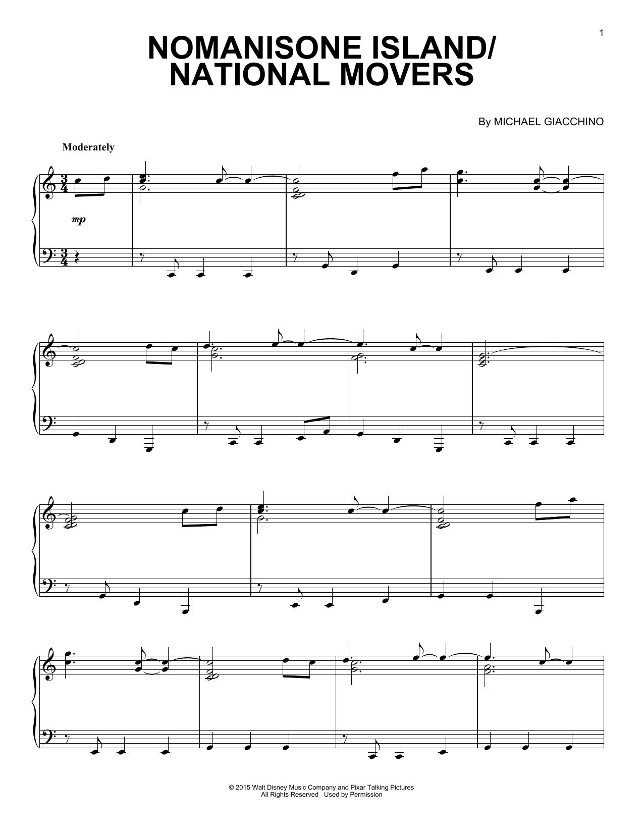 Partition piano Nomanisone Island/National Movers de Michael Giacchino - Piano Solo