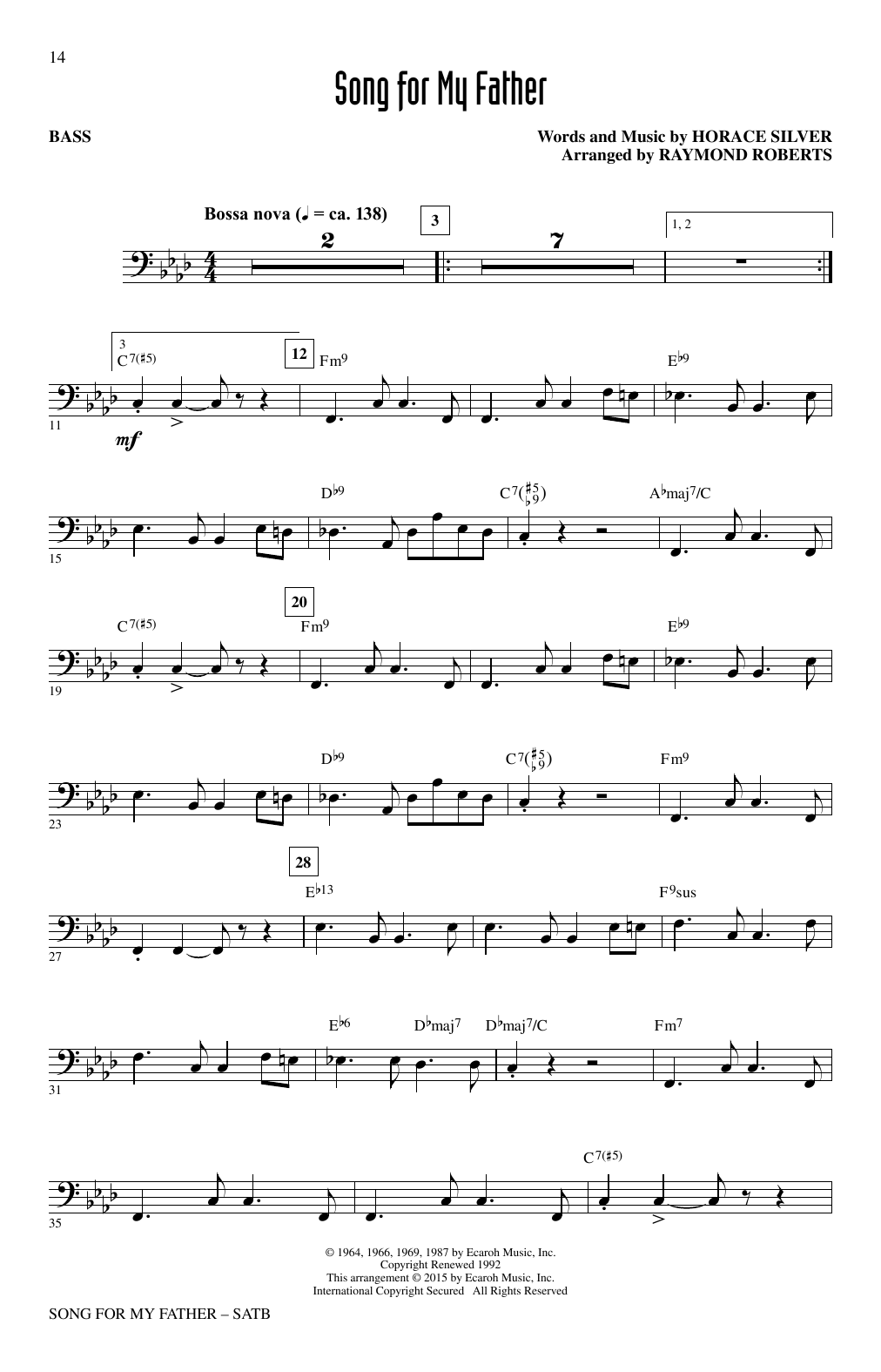 Partition chorale Song For My Father de Horace Silver - SATB